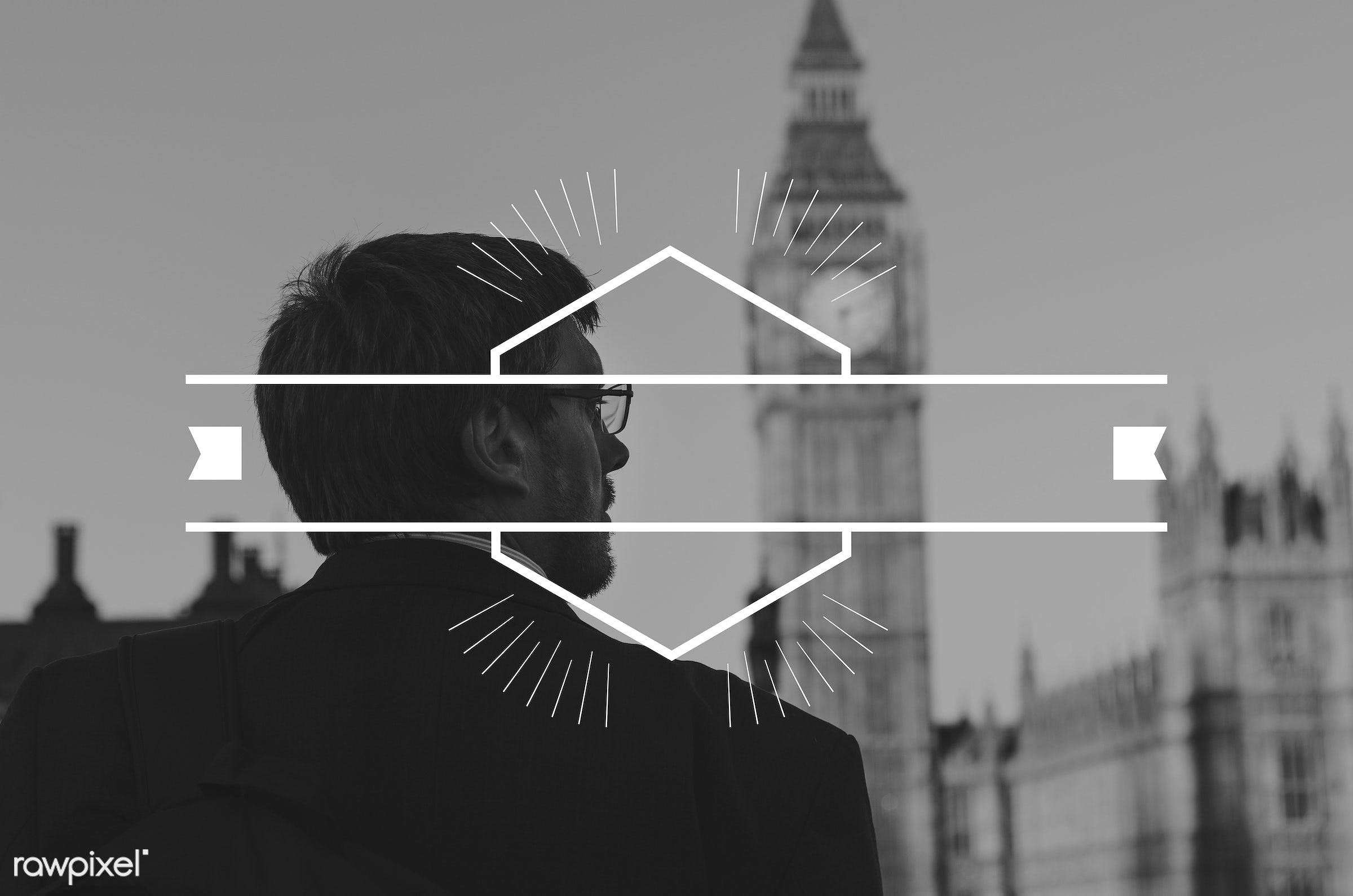 badge, banner, big ben, blank, britain, building, business, businessmen, clock, copy space, england, label, london, looking...