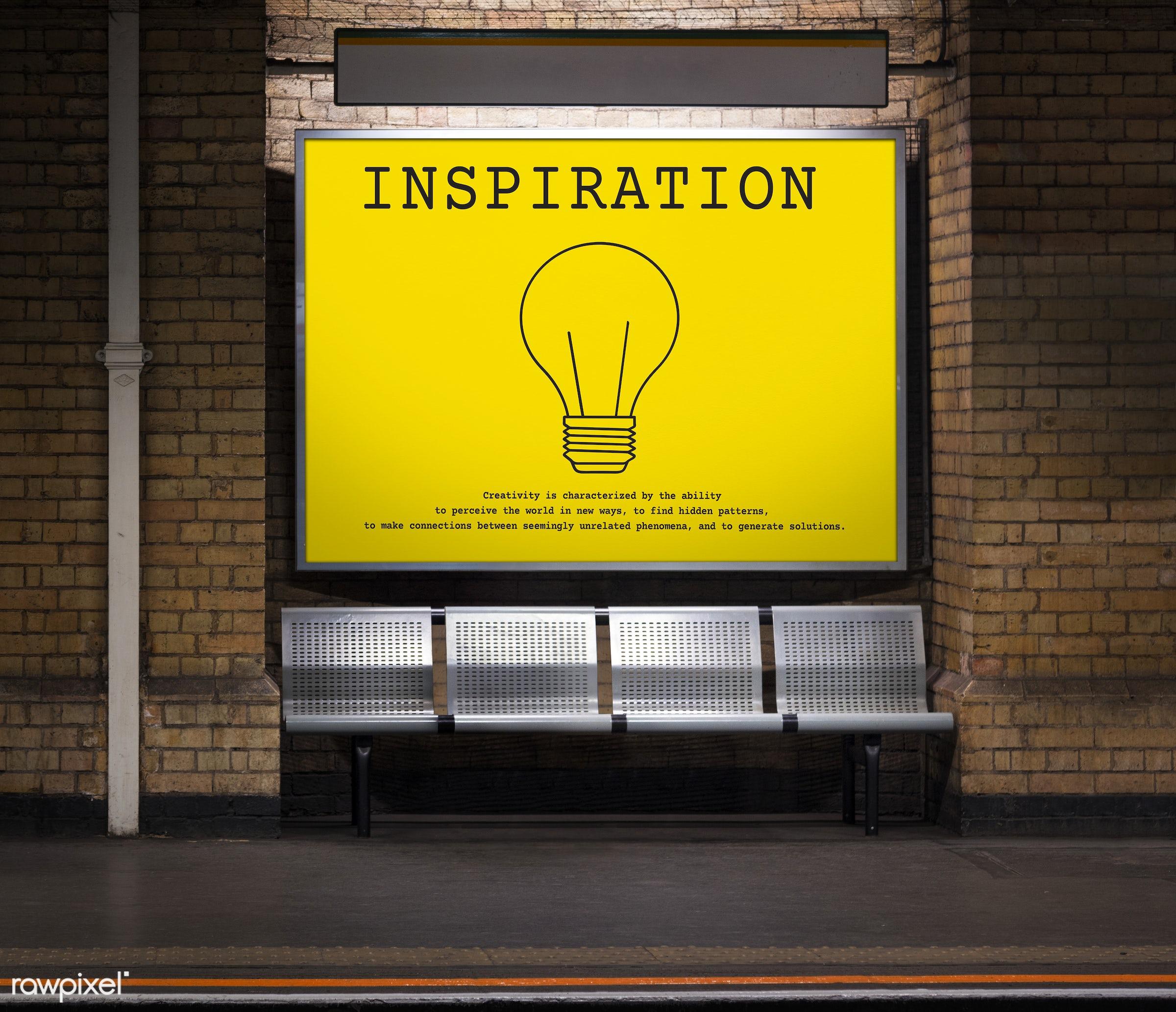 Advertisement in an underground train station - be inspired, bricks, brickswall, bulb, concept, creative, creativity, design...