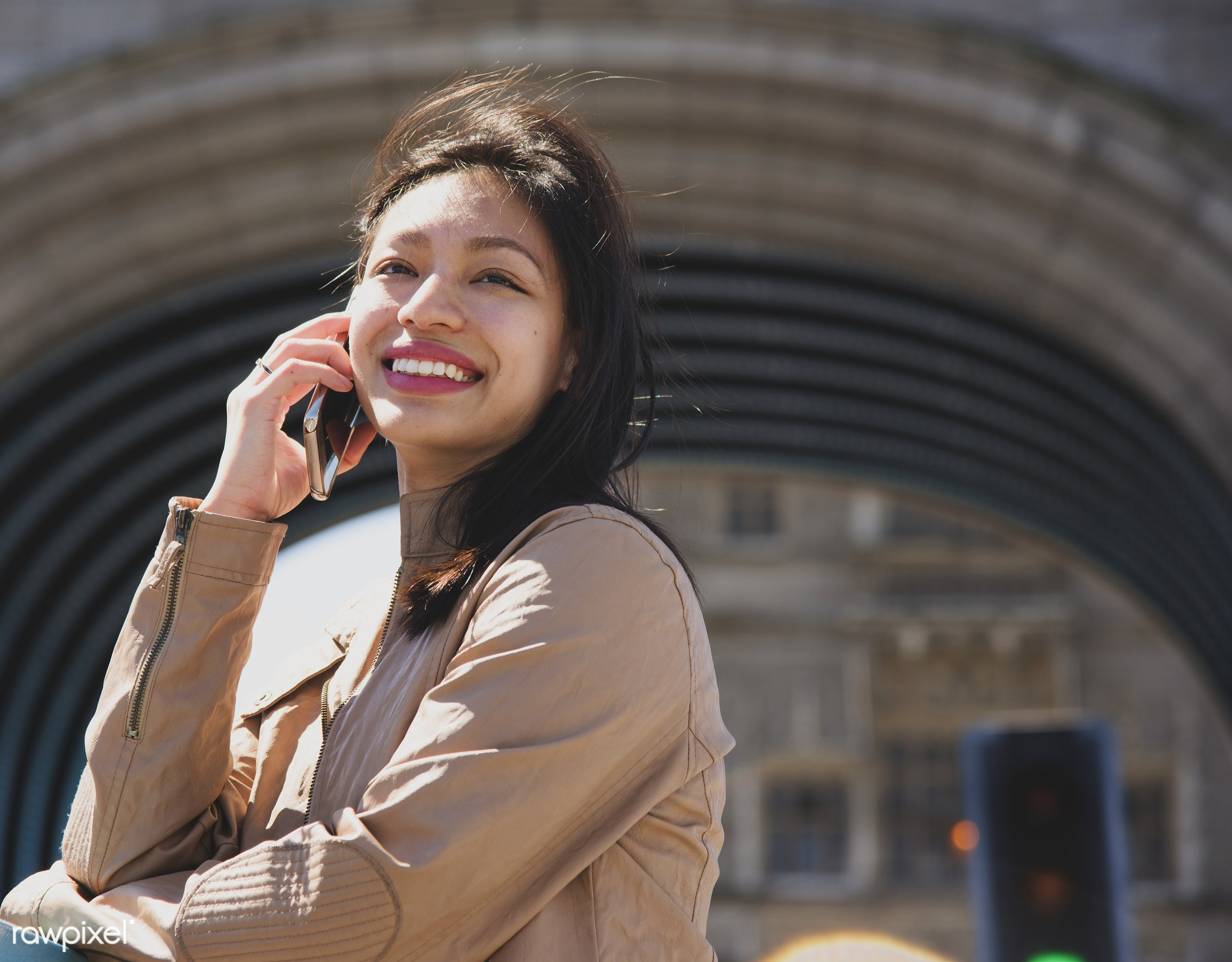Beautiful asian woman on the phone - asian ethnicity, attractive, beautiful, beauty, call, calling, candid, casual, cheerful...