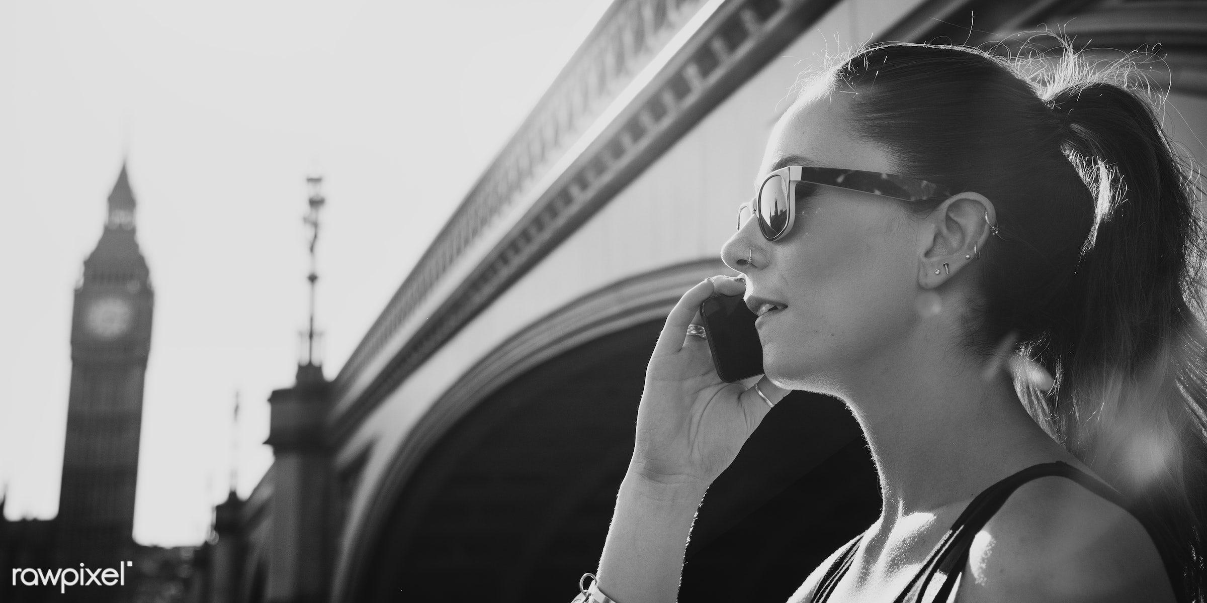 Beautiful woman traveling in London - adult, architecture, big ben, bridge, britain, building, call, calling, casual, city,...