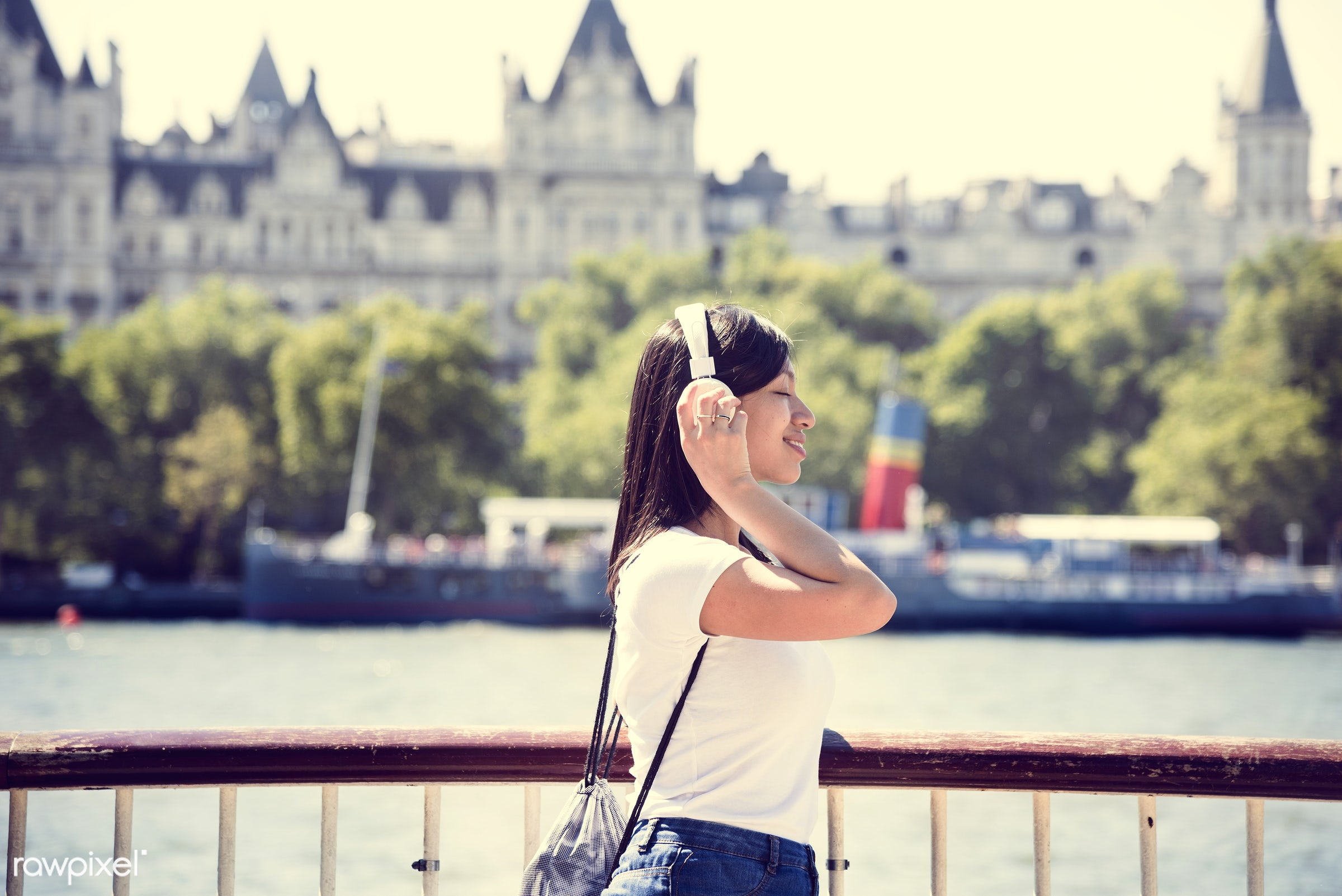 asian ethnicity, attractive, backpack, beautiful, beauty, candid, casual, cheerful, city, device, enjoyment, female,...