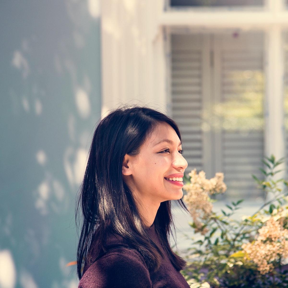 Cheerful beautiful asian woman