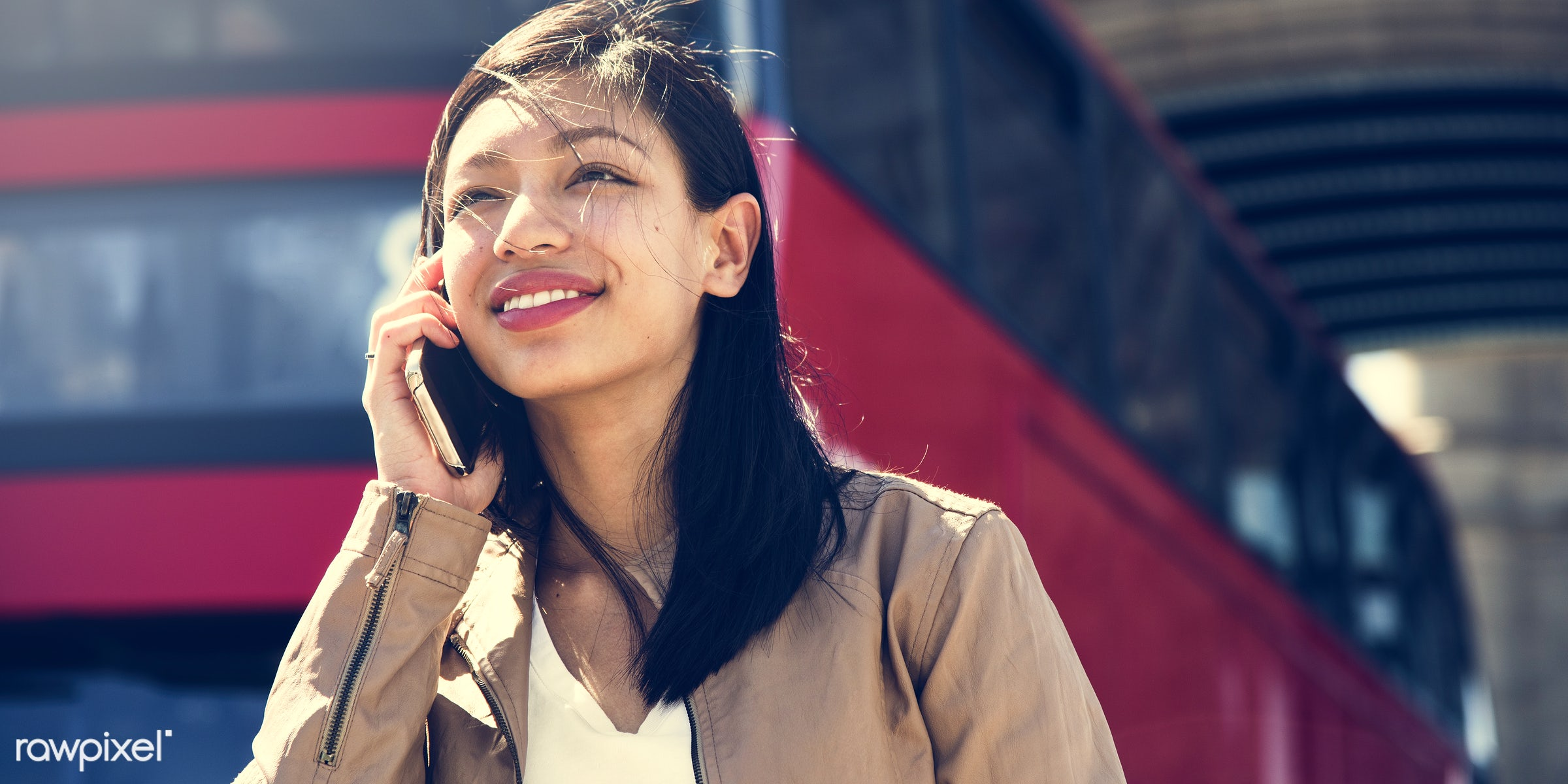 asian ethnicity, attractive, beautiful, beauty, bus, call, calling, candid, casual, cheerful, city, conversation, device,...