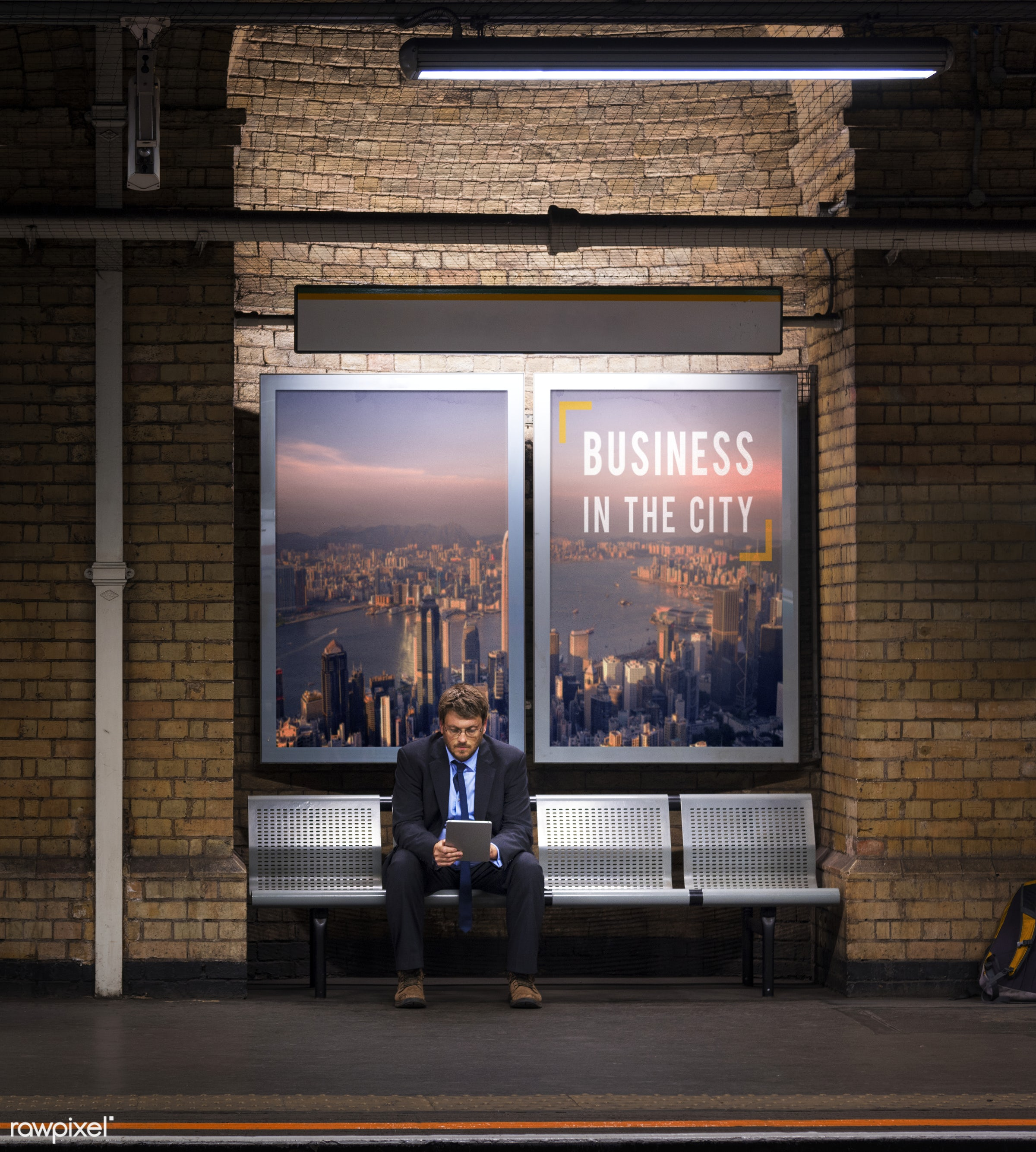 adult, advertising, aspirations, banner, bench, business, businessman, city, communication, confidence, confident,...