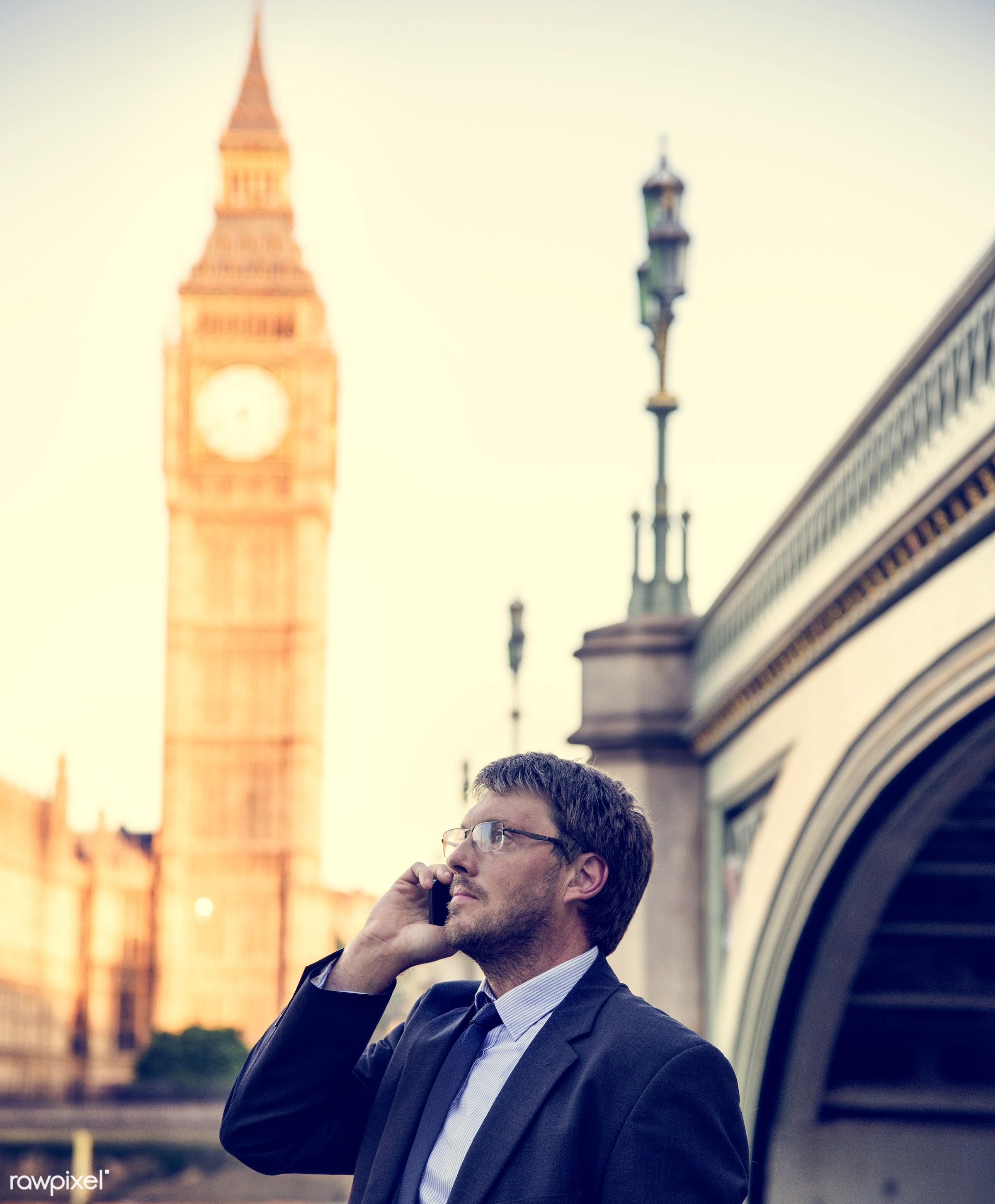 adult, architecture, aspirations, big ben, bridge, britain, building, business, businessman, call, calling, caucasian, city...