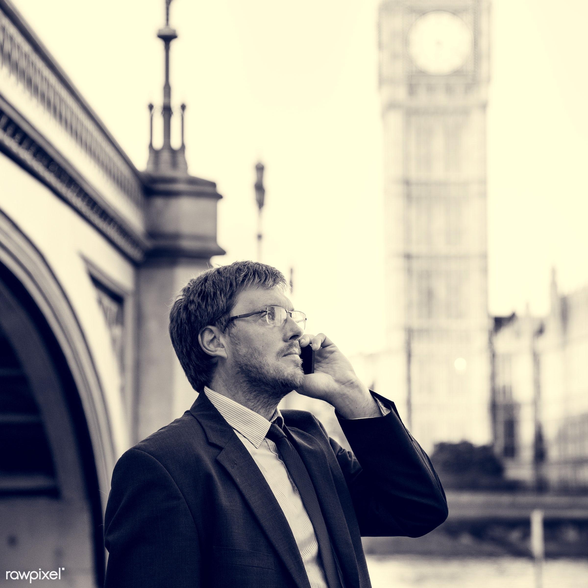adult, architecture, aspirations, bridge, britain, building, business, businessman, call, calling, caucasian, city,...
