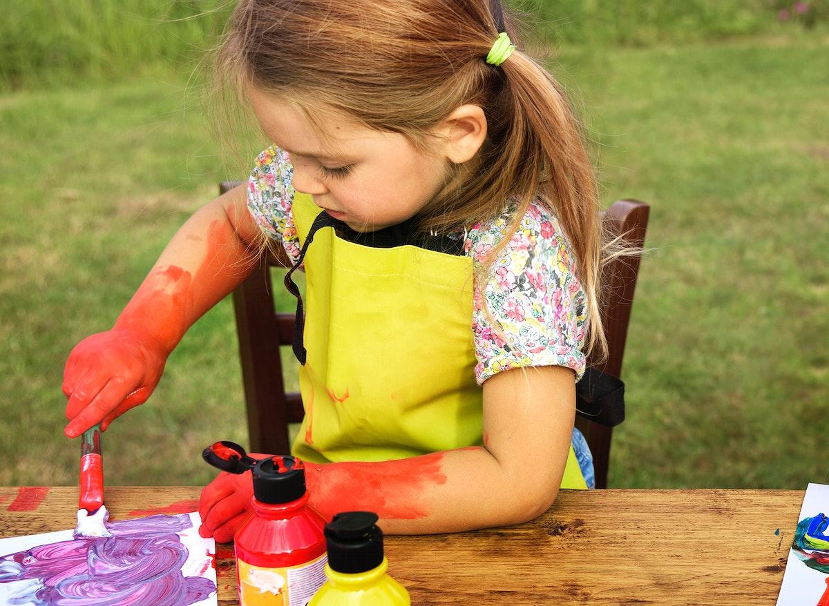 Kid enjoying painting