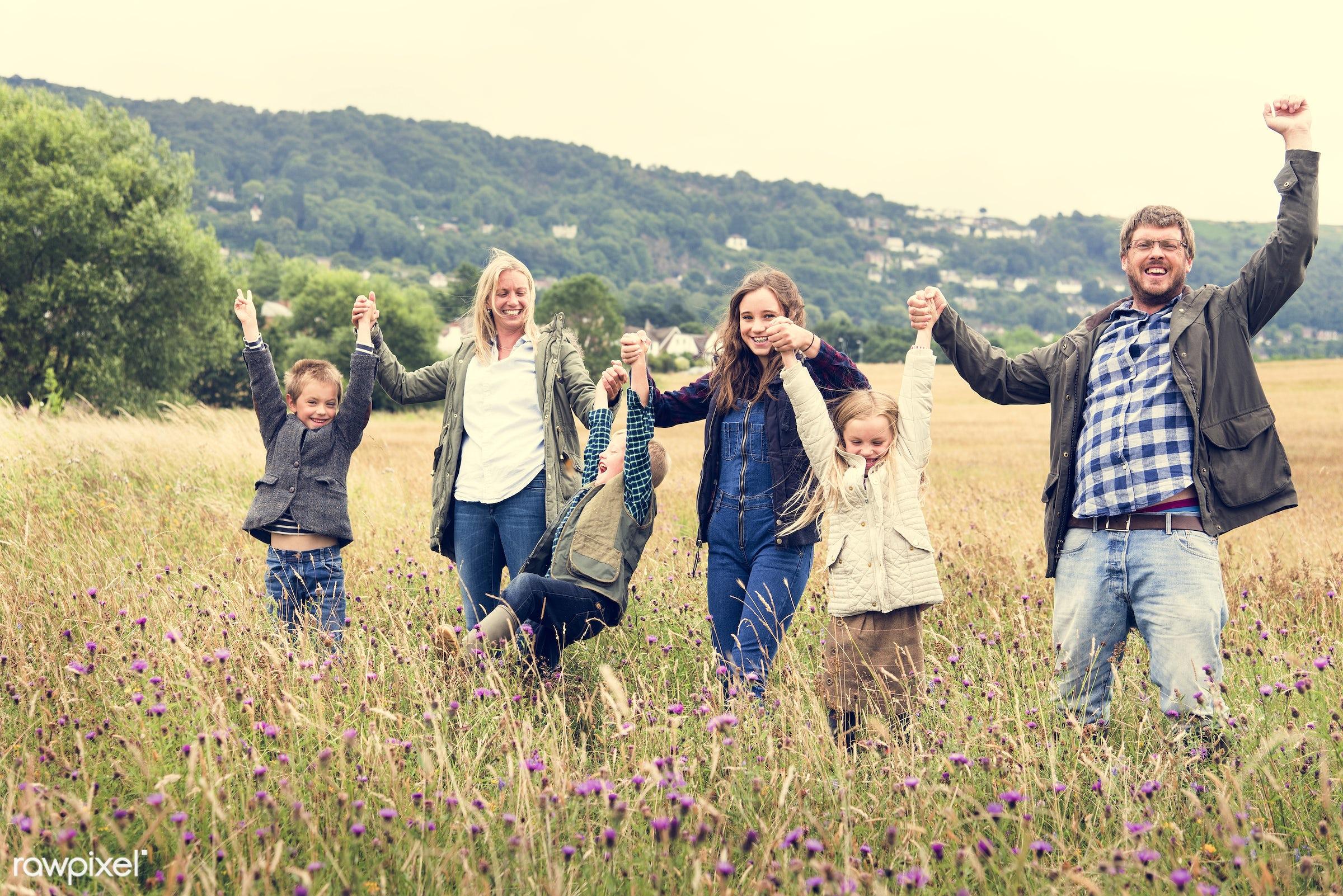 arms raised, bonding, boy, care, casual, celebration, cheerful, childhood, children, daughter, enjoyment, environment,...