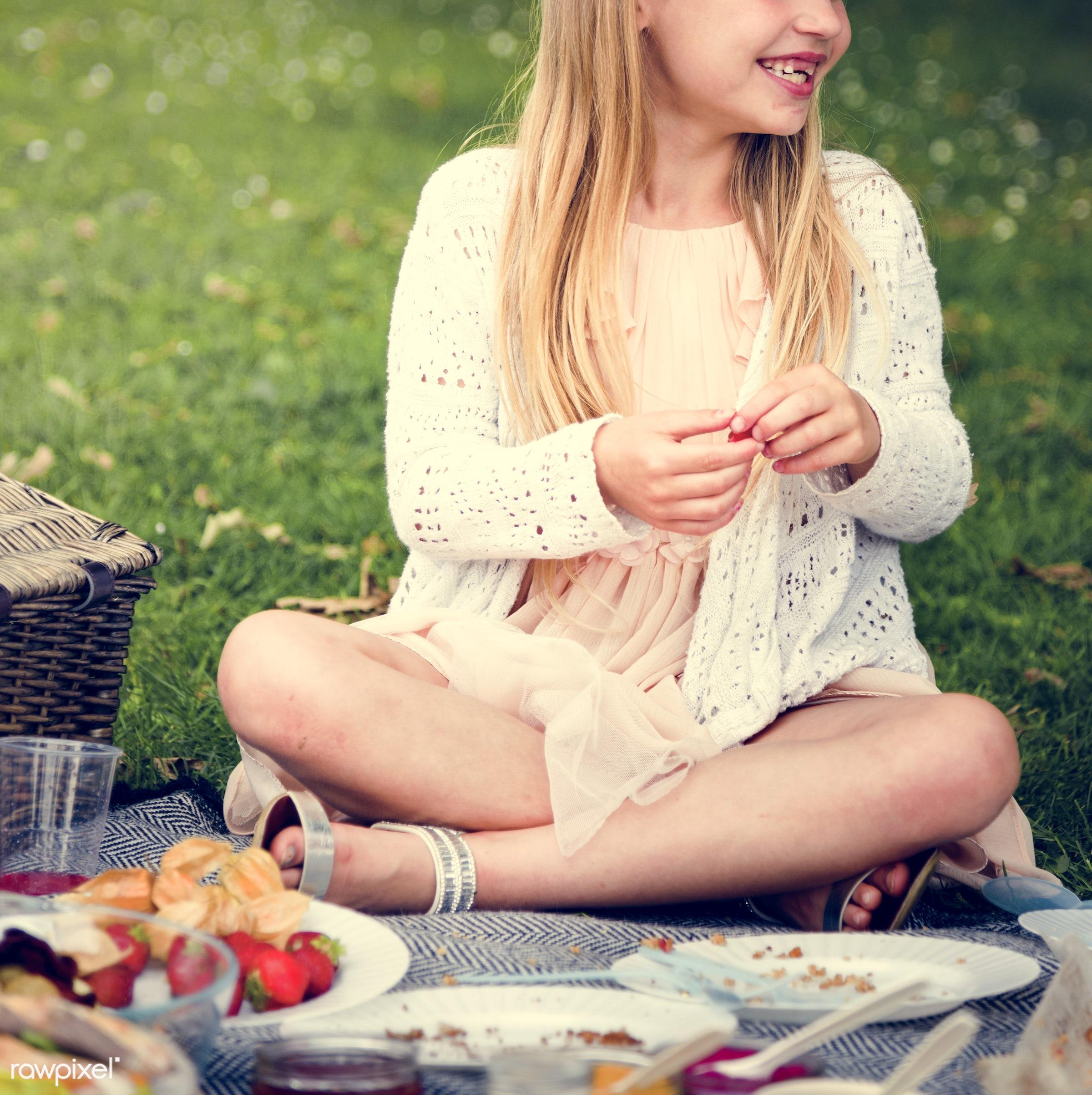 cheerful, child, childhood, enjoyment, environmental, field, food, fruit, fun, garden, girl, grass, happiness, holiday,...
