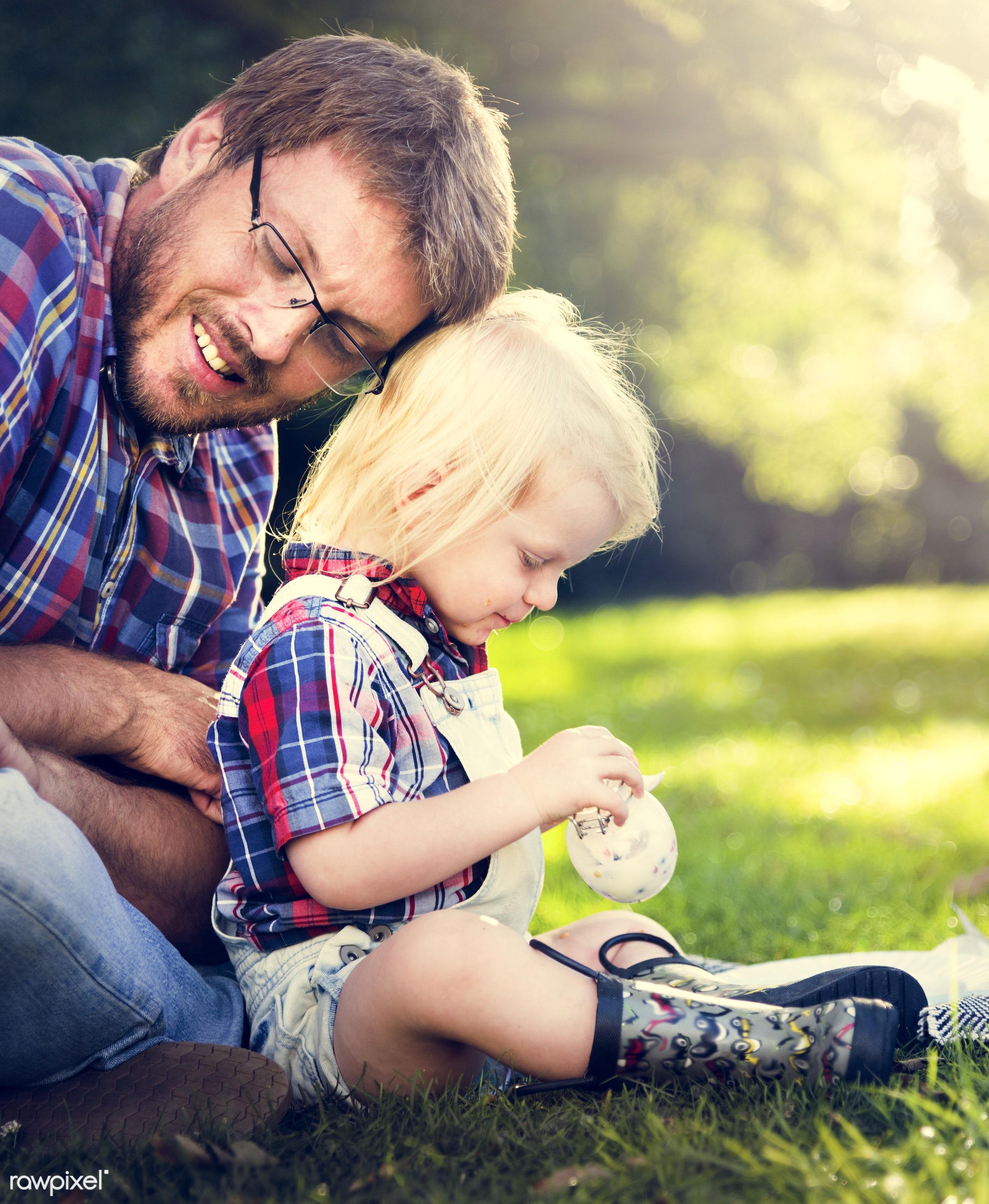 bonding, boy, care, casual, cheerful, child, childhood, dad, enjoyment, environmental, family, father, field, fun, garden,...