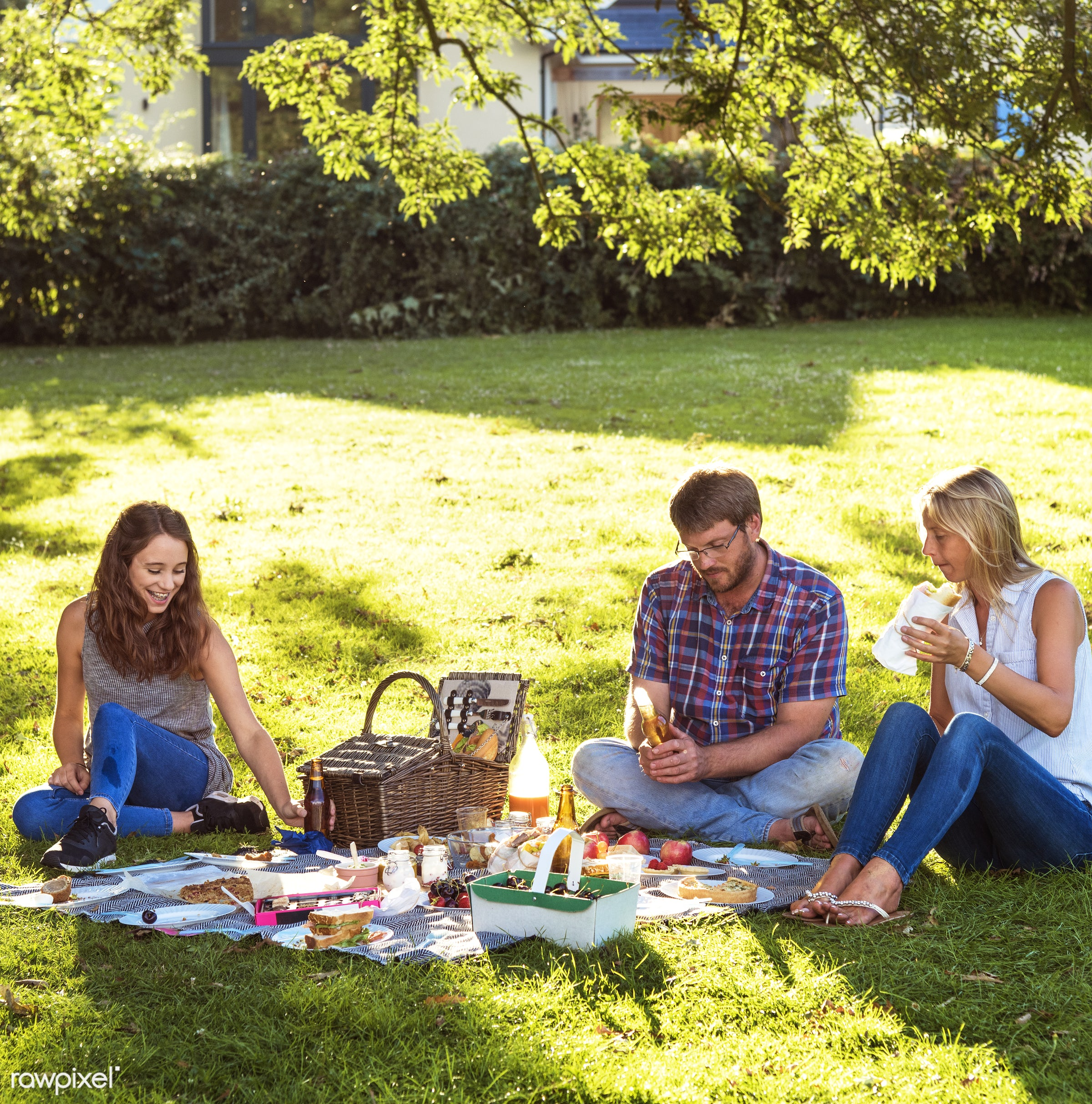 Happy family picnic in the park - bonding, cheerful, children, daughter, enjoyment, family, father, field, fun, garden,...