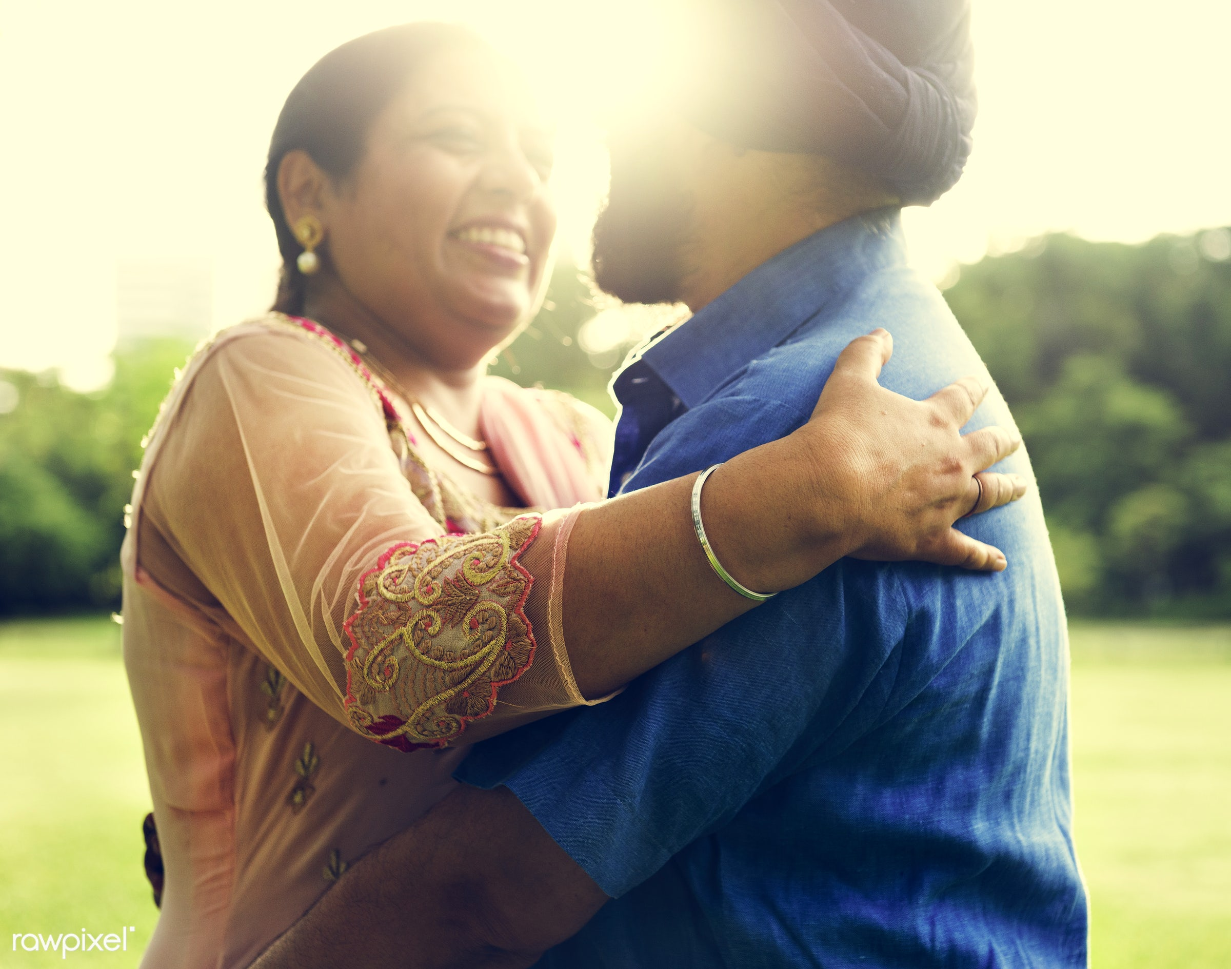 Loving senior Indian couple - activity, adult, asian, bonding, care, casual, cheerful, couple, day, ethnicity, family,...