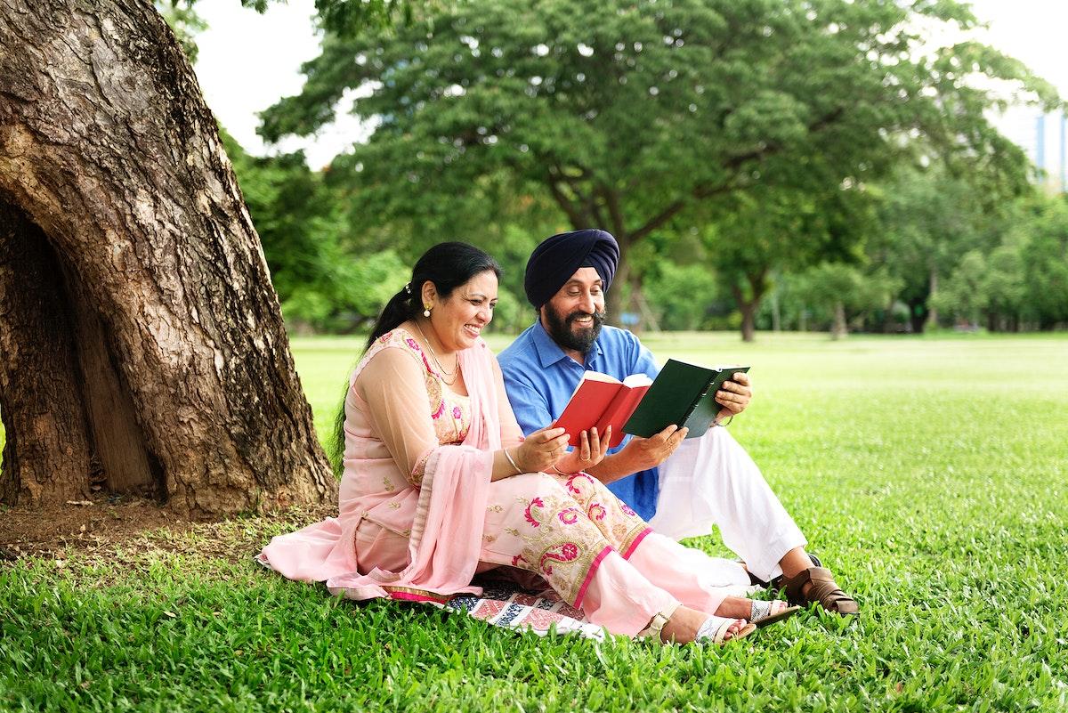 Loving senior Indian couple