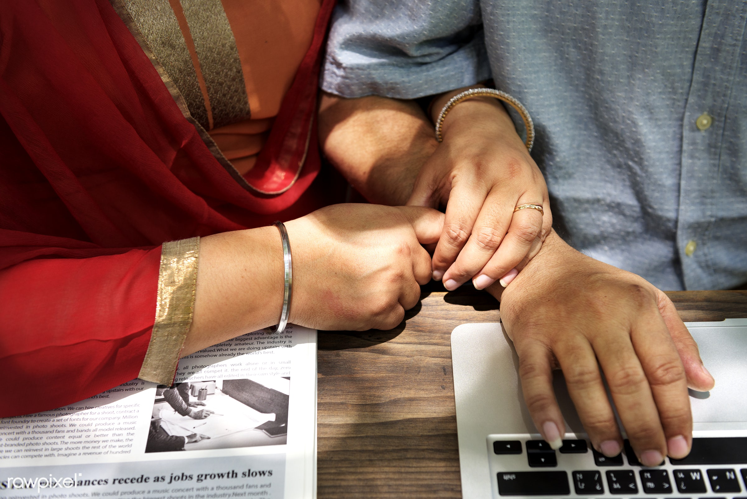 Loving senior Indian couple - adult, care, cheerful, communication, connection, couple, credit, device, digital, education,...
