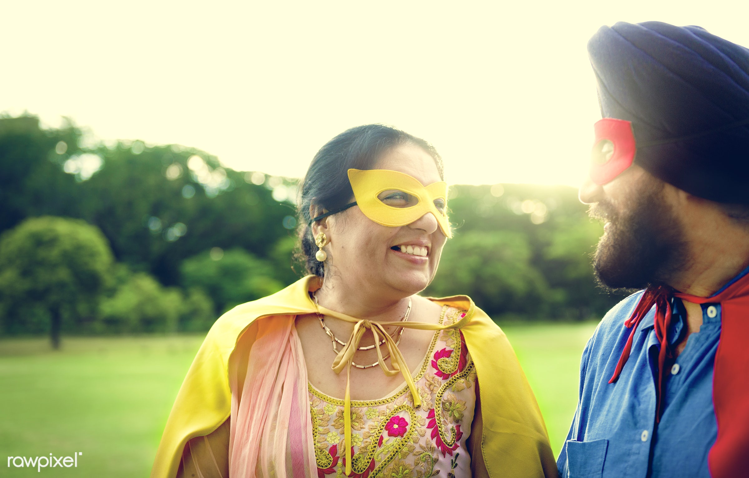 Loving senior Indian couple - activity, adult, asian, bonding, care, casual, cheerful, costume, couple, day, ethnicity,...