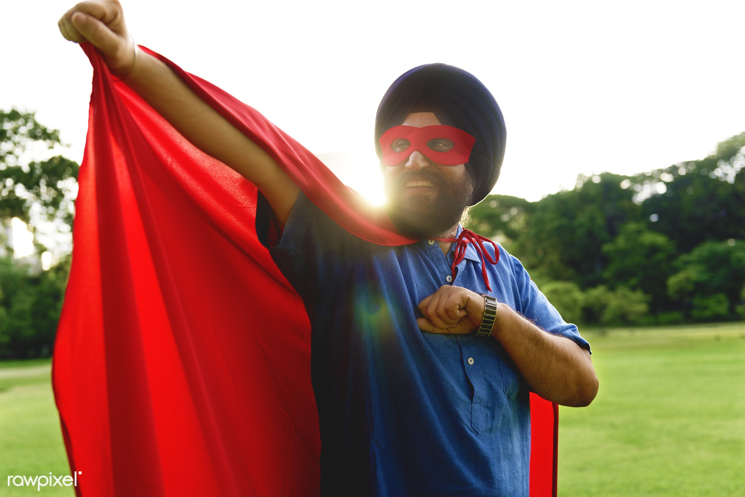 Senior superhero Sikh Indian man in the park - activity, adult, asian, bonding, care, casual, cheerful, cloak, costume, day...