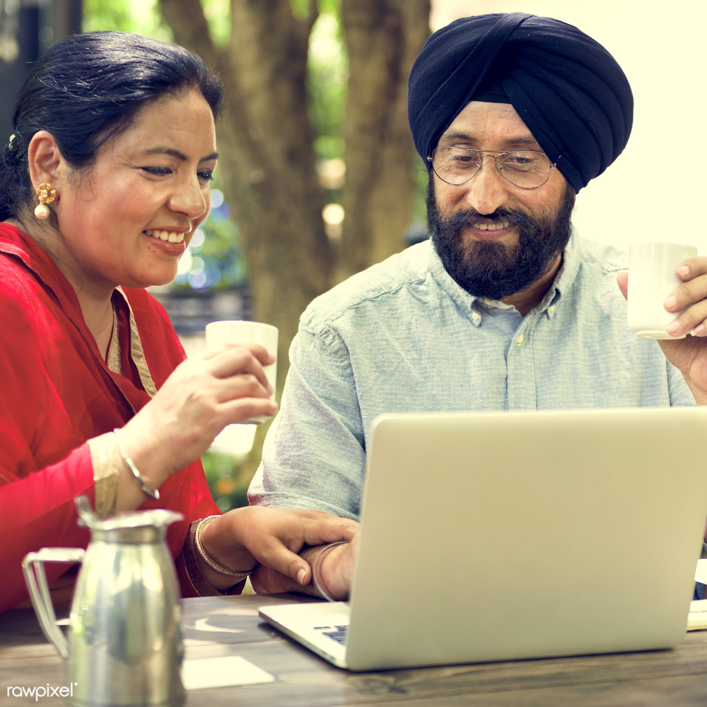 Senior Indian couple - adult, care, cheerful, coffee, communication, connection, couple, credit, cup, device, digital,...