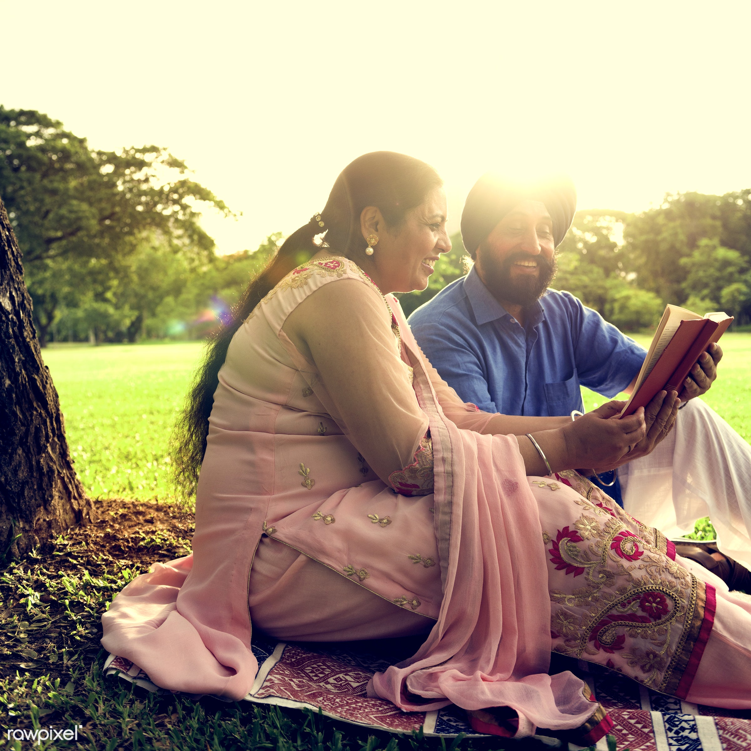 Indian Couple Love Care Concept - activity, adult, asian, bonding, book, care, casual, cheerful, couple, day, ethnicity,...