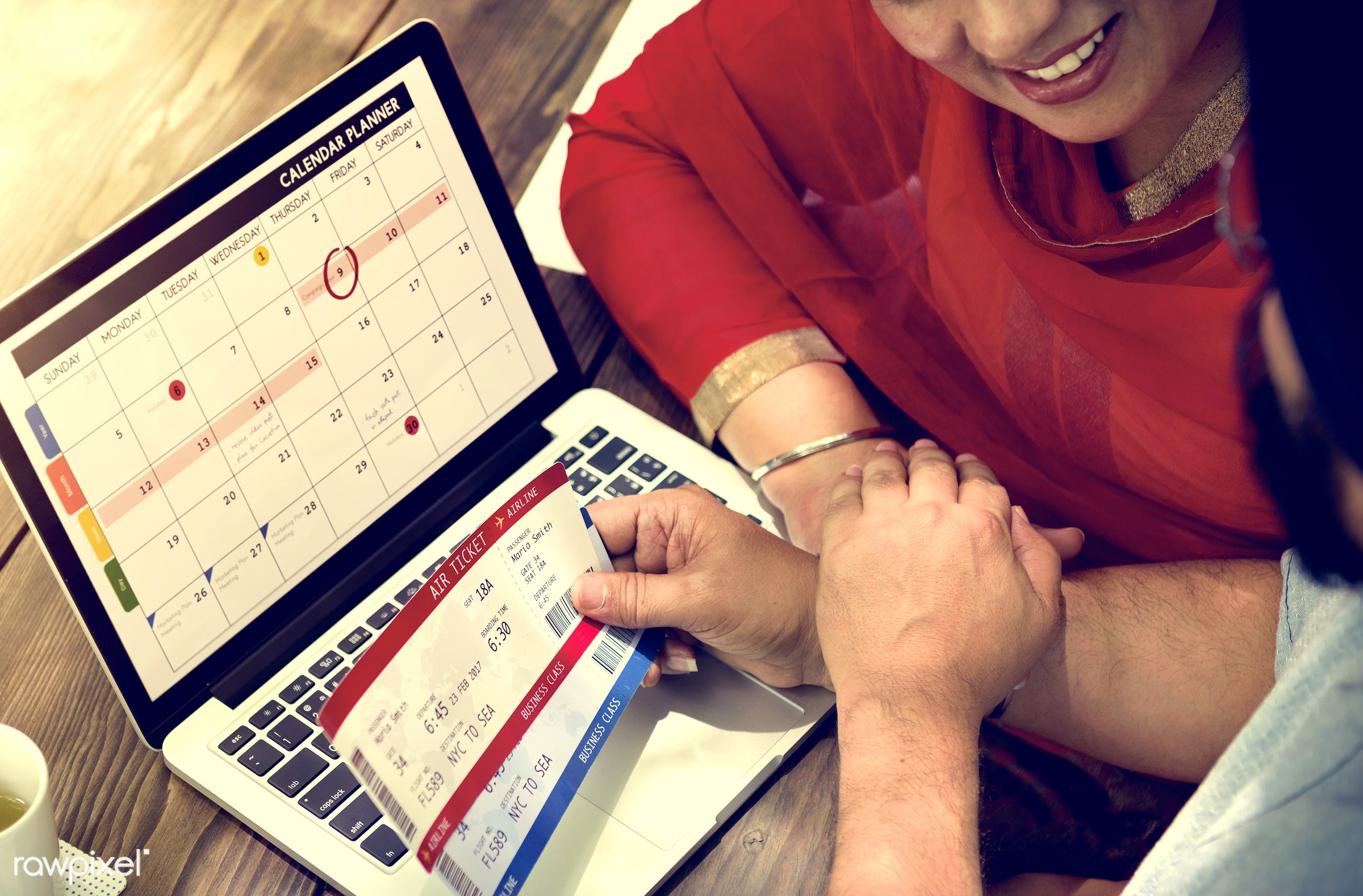 Indian Couple Planning Trip Concept - adult, booking, calendar, call, care, cheerful, communication, connection, couple,...