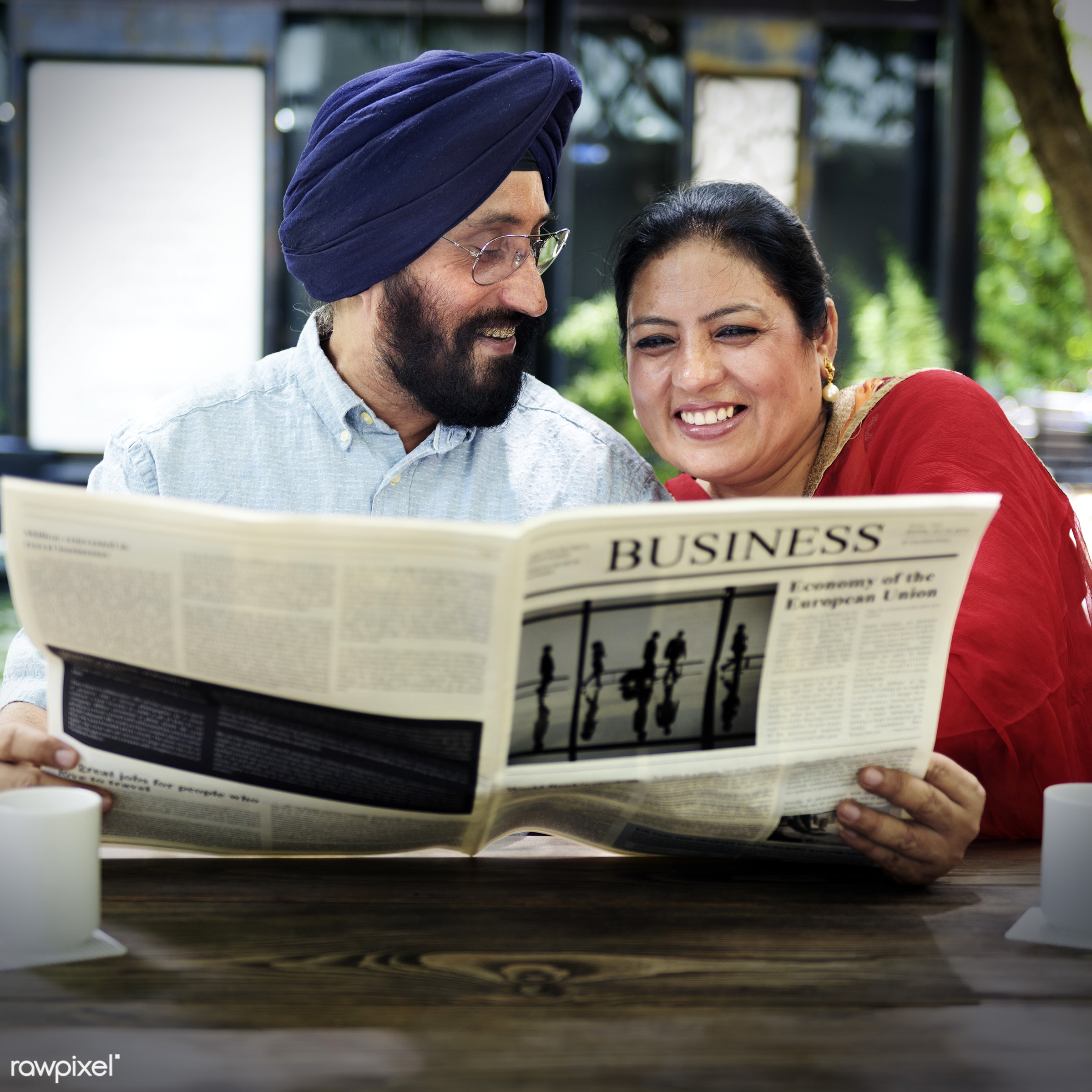 Indian Couple Reading Newspaper Concept - adult, break, business, care, cheerful, coffee, communication, connection, couple...