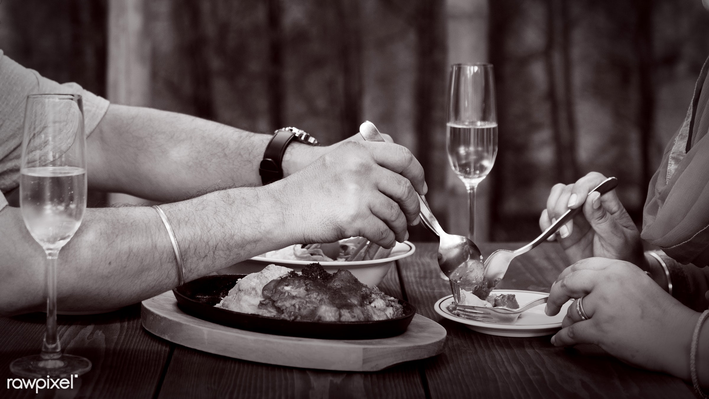 Indian Couple Dining Together Concept - care, celebrating, celebration, champagne, cheerful, communication, connection,...