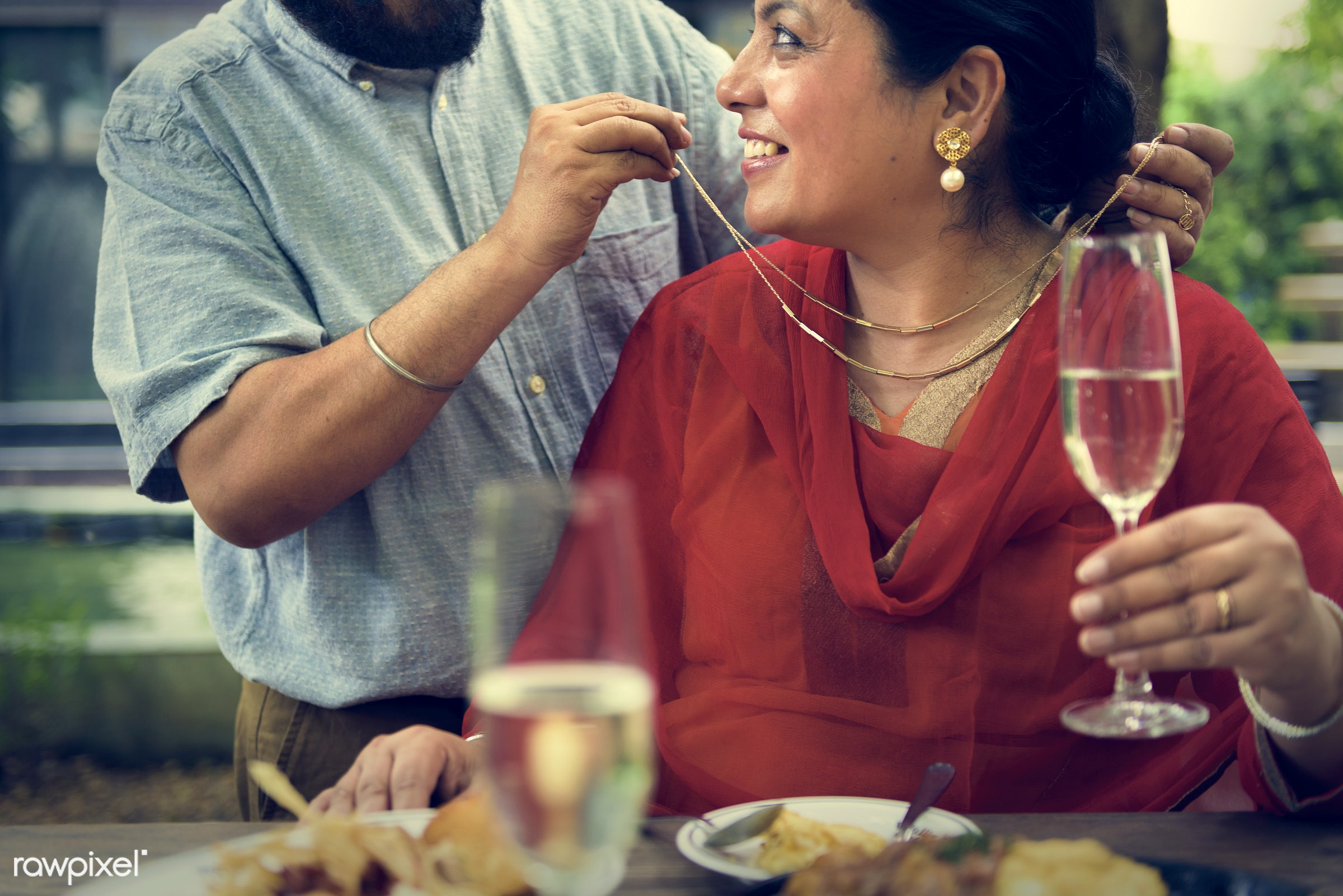 Indian Couple Love Care Concept - care, celebrating, celebration, champagne, cheerful, communication, congratulations,...