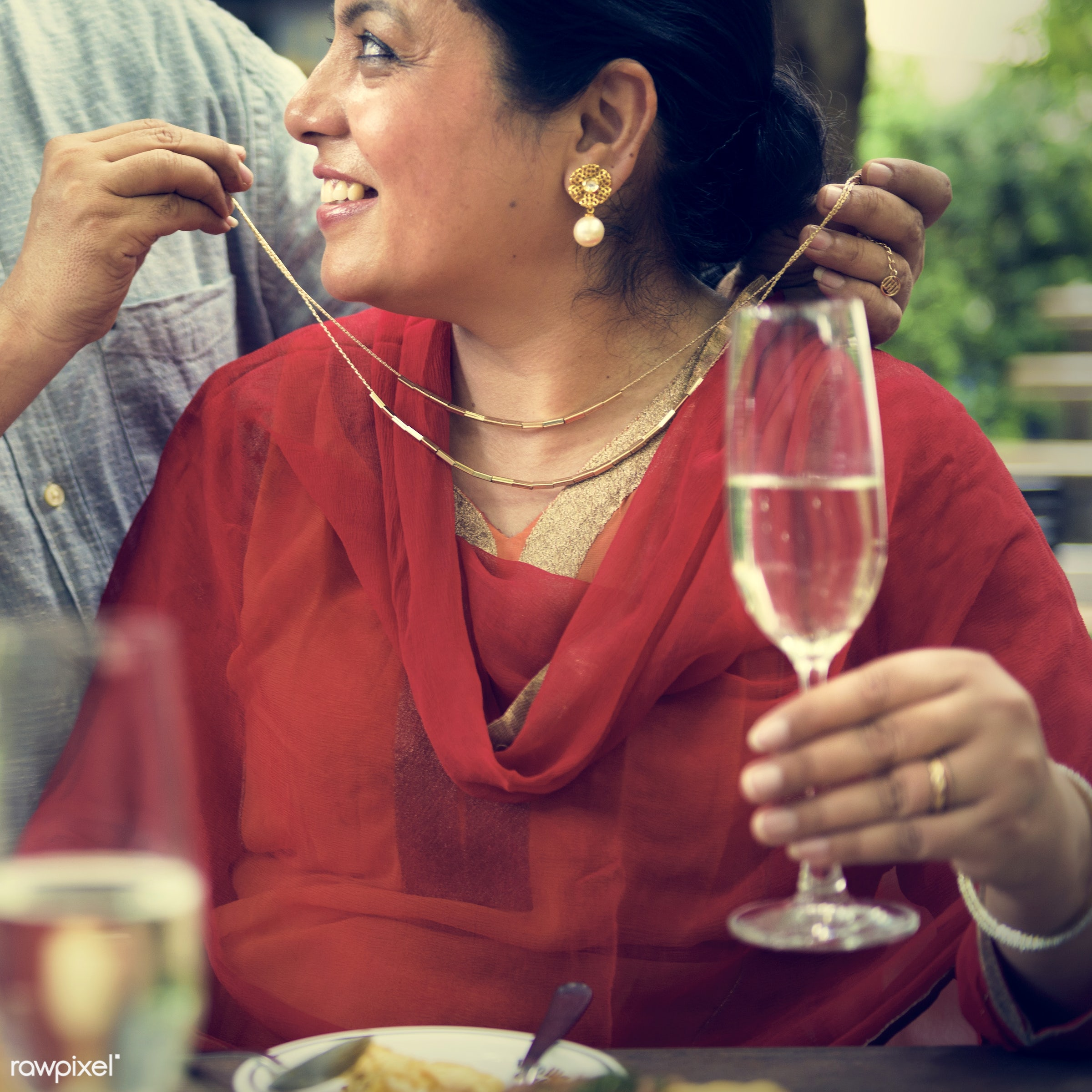 Indian Couple Dining Together Concept - care, celebrating, celebration, champagne, cheerful, communication, congratulations...