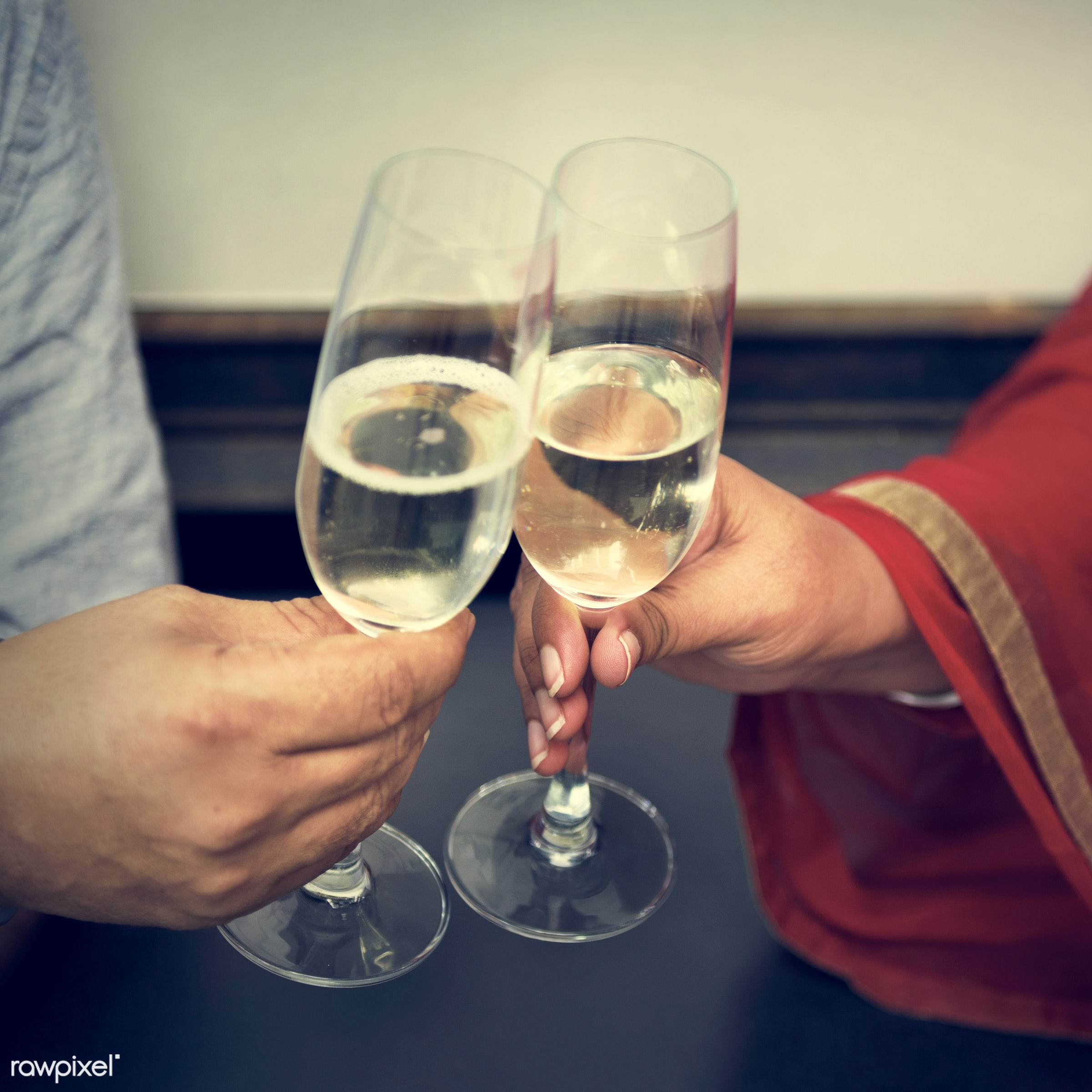 Indian Couple Dining Together Concept - care, celebrating, celebration, champagne, cheerful, cheers, communication,...