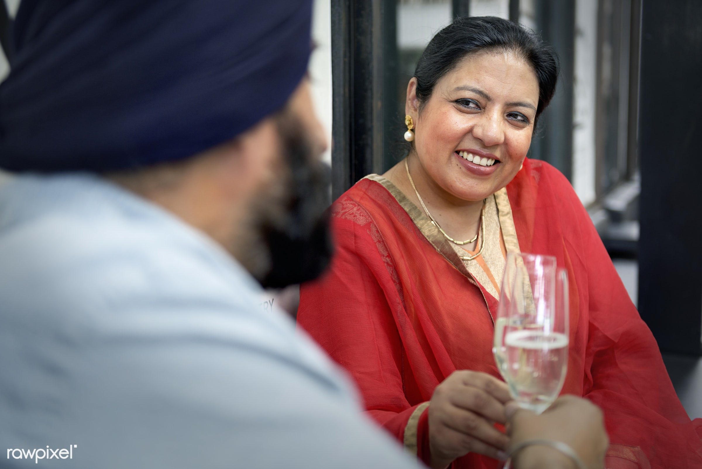 Indian Couple Dining Together Concept - adult, anniversary, care, celebrating, celebration, cheerful, communication,...