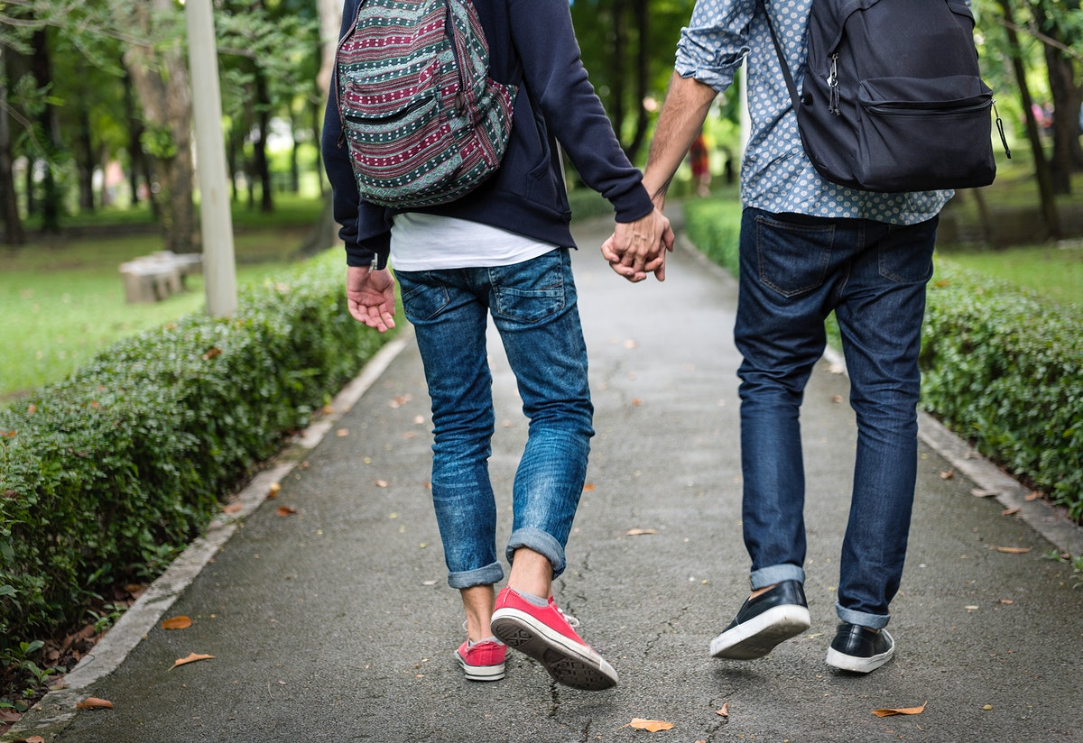 Gay Couple Love Outdoors Concept