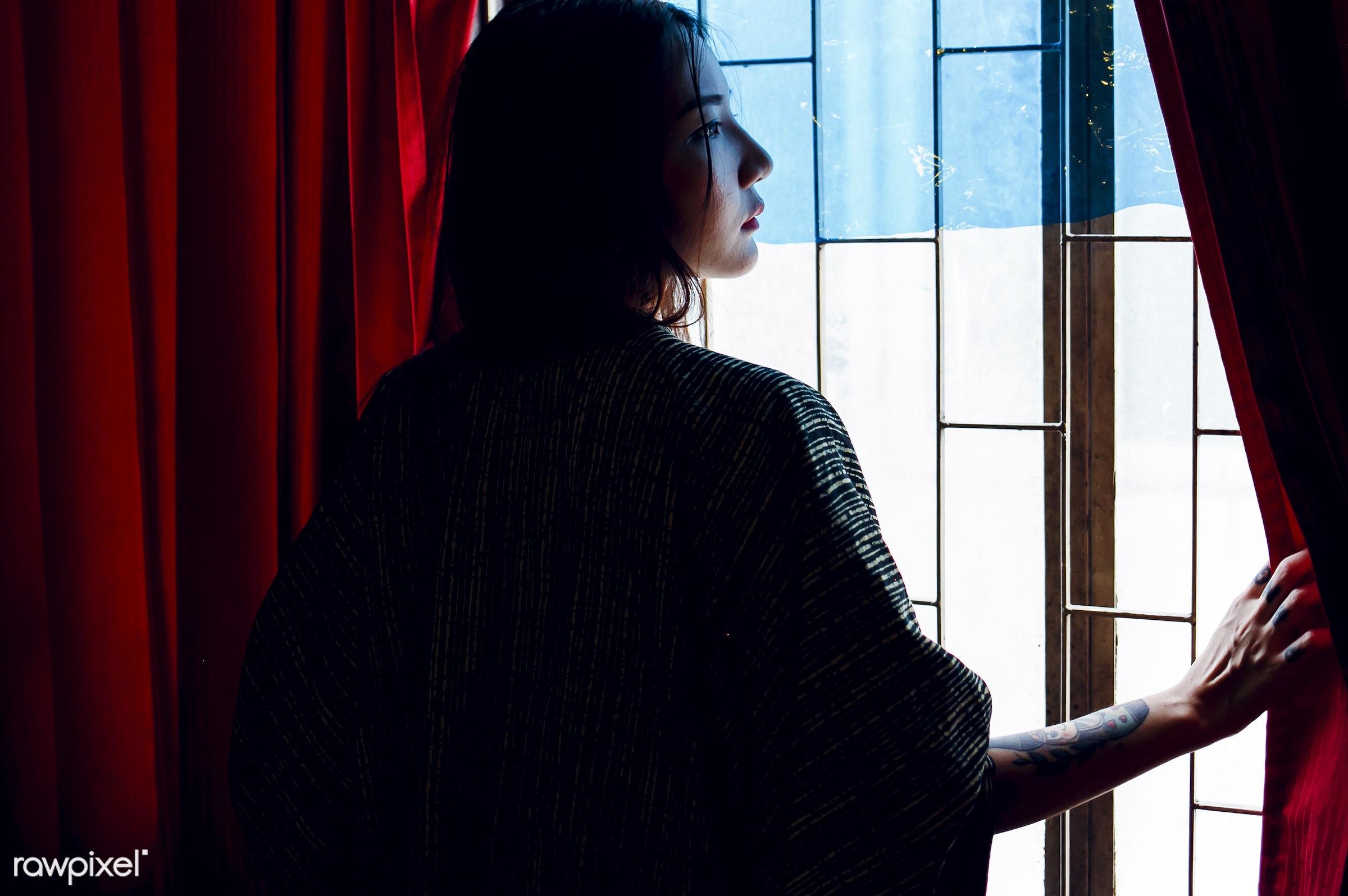 rear view, asian, curtain, open, window, woman, shadow, thoughtful, tattoo, shade, alone