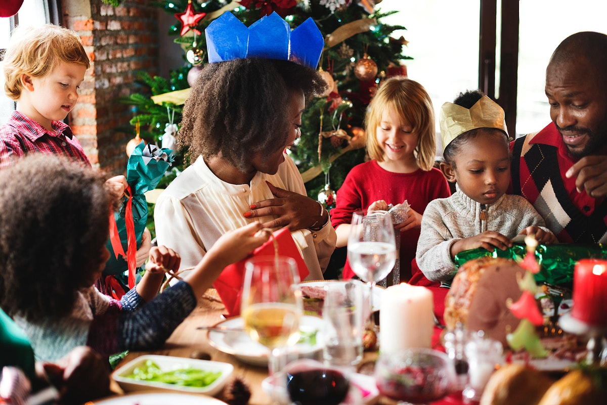 Group of diverse people are celebrating christmas holiday