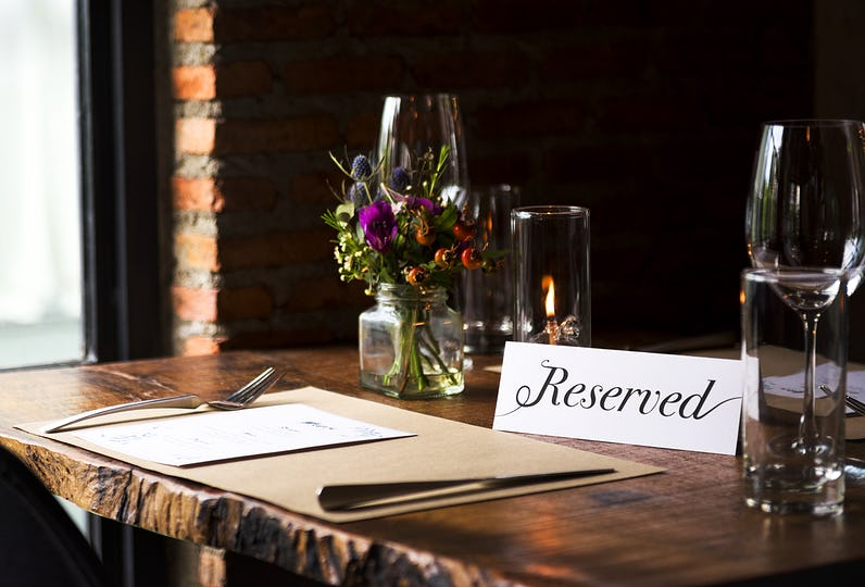 Reserved table at a restaurnnat