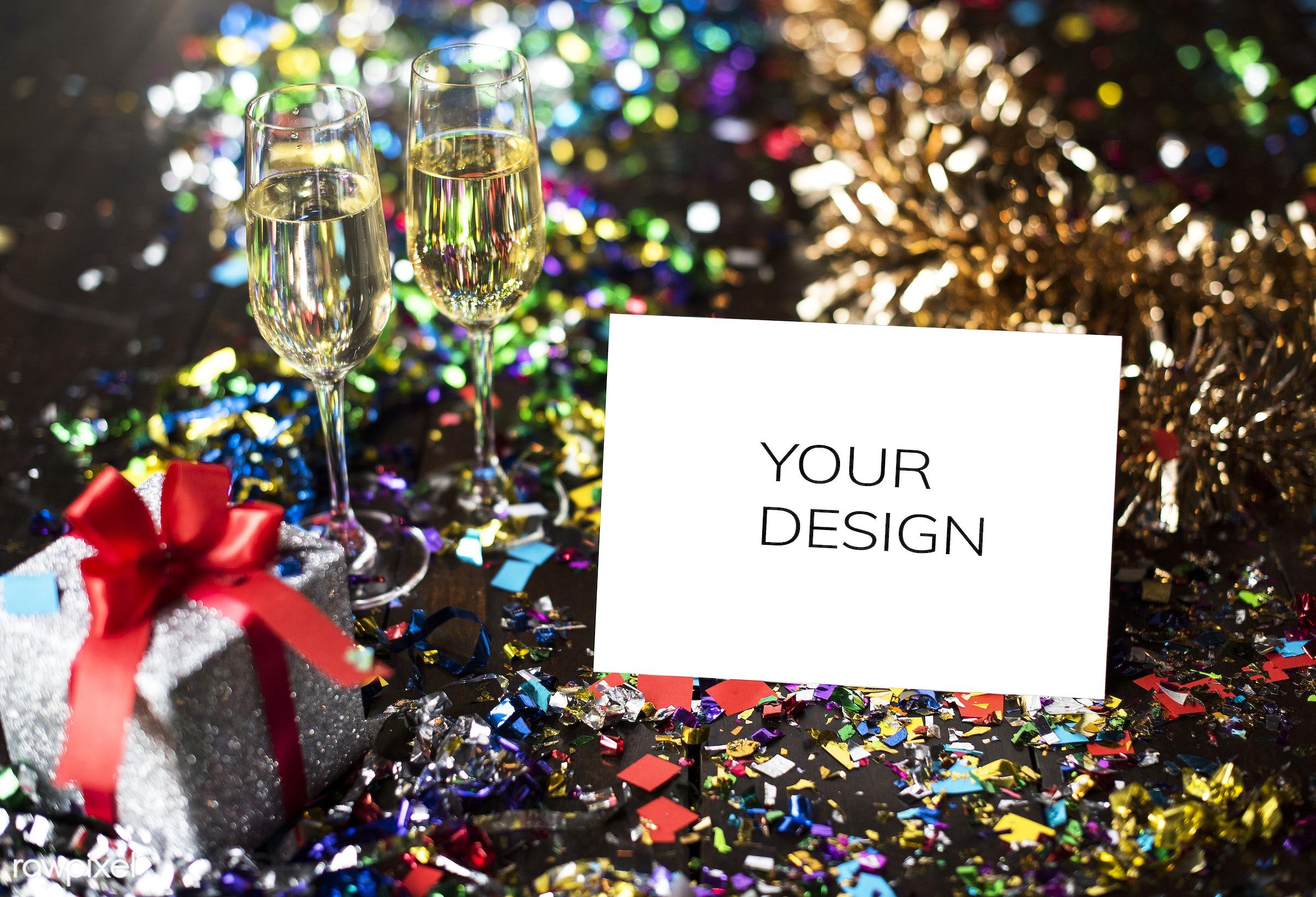 new year, blank, card, celebrate, celebrating, celebration, confetti, copy space, disco, diy, enjoyment, event, festive, fun...
