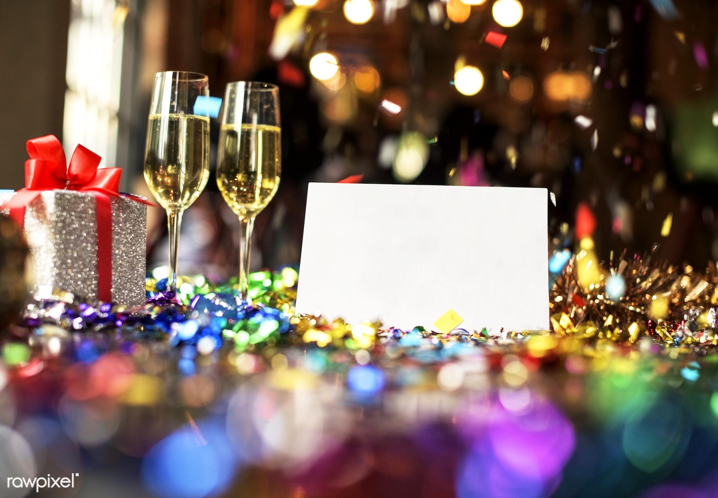 wine, blank, card, celebrate, celebrating, celebration, confetti, copy space, disco, diy, enjoyment, event, festive, fun,...