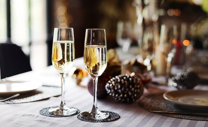 Glasses of sparkling wine