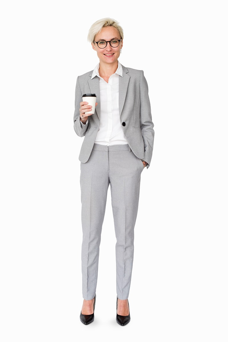 Corporate business woman holding a plastic cup
