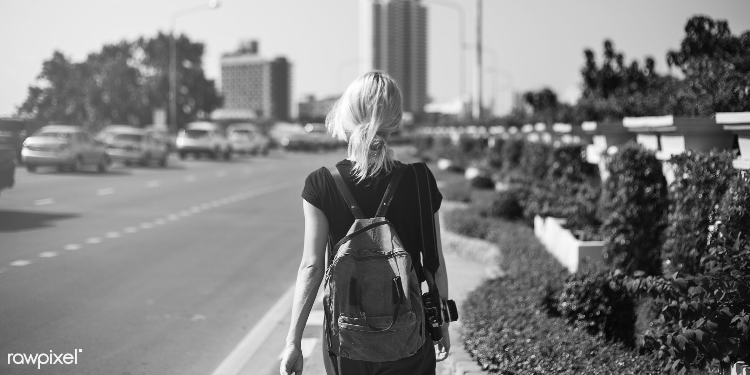 Solo woman traveler - street, alone, back, black and white, camera, grayscale, messy hair, one, outdoors, pathway, people,...