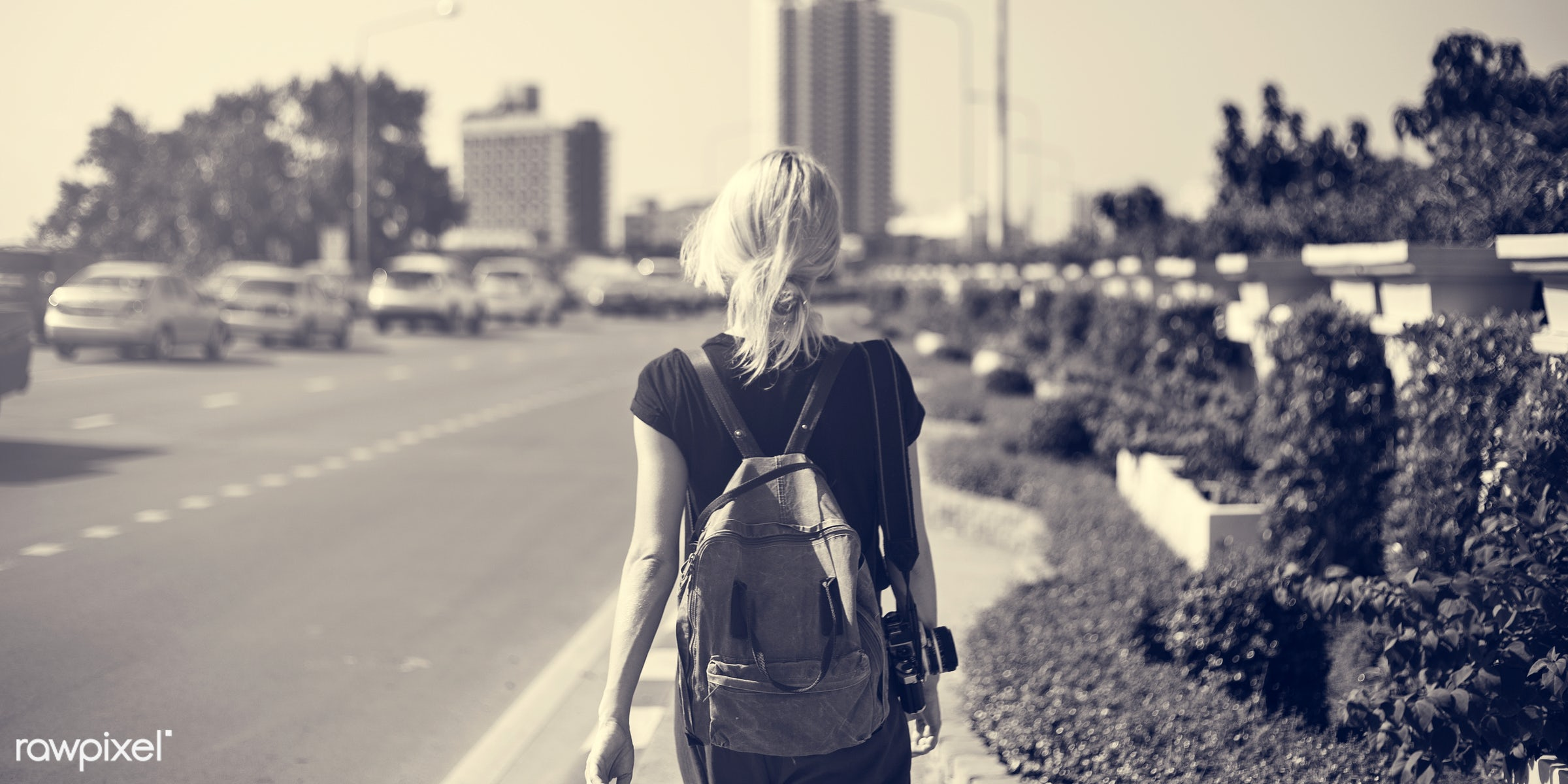 alone, back, black tee, blonde, boat, camera, caucasian, female, messy hair, one, outdoors, pathway, person, portrait, road...