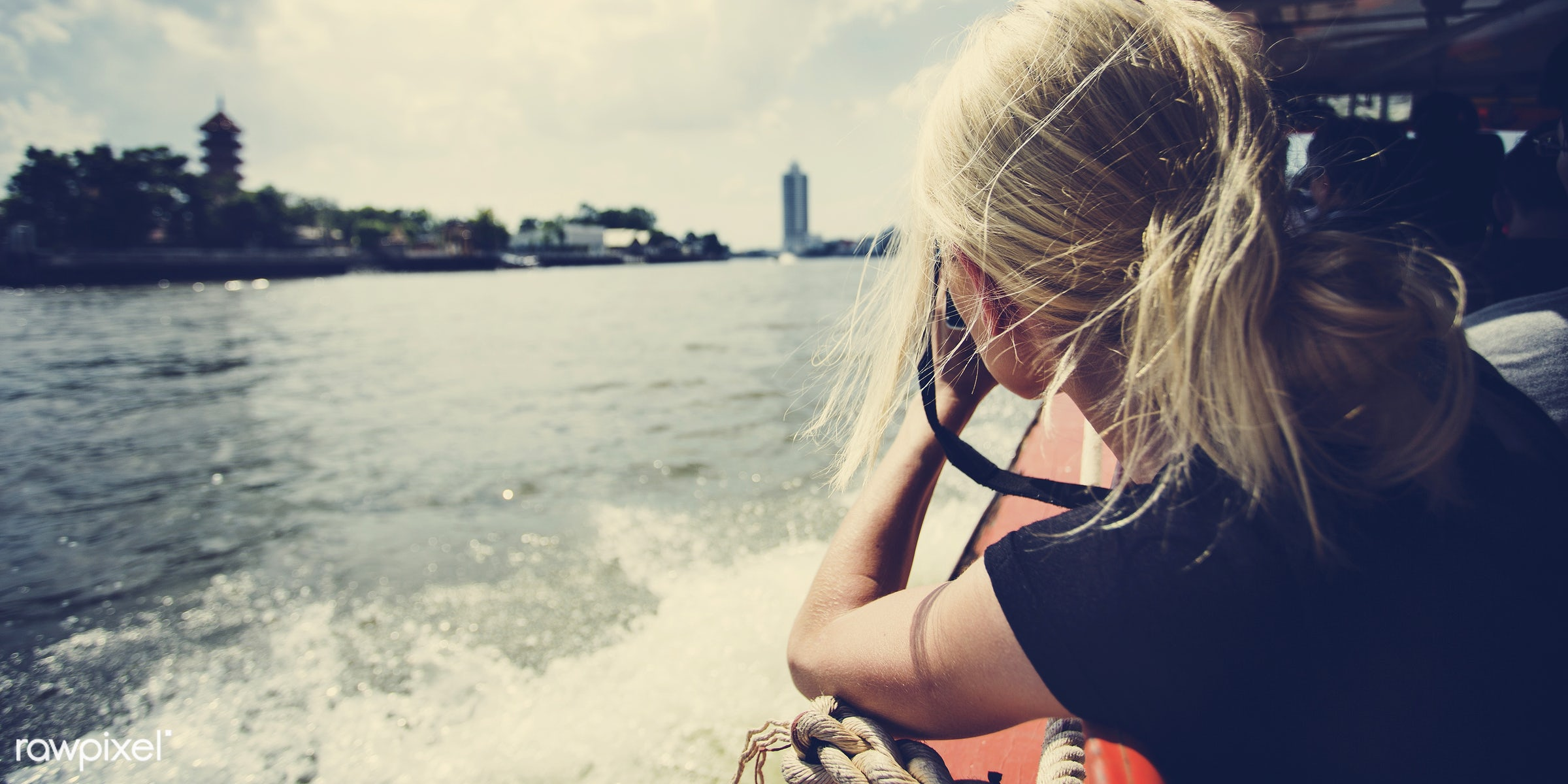 alone, back, blonde, boat, camera, caucasian, female, messy hair, one, outdoors, person, portrait, river, river boat, shoot...