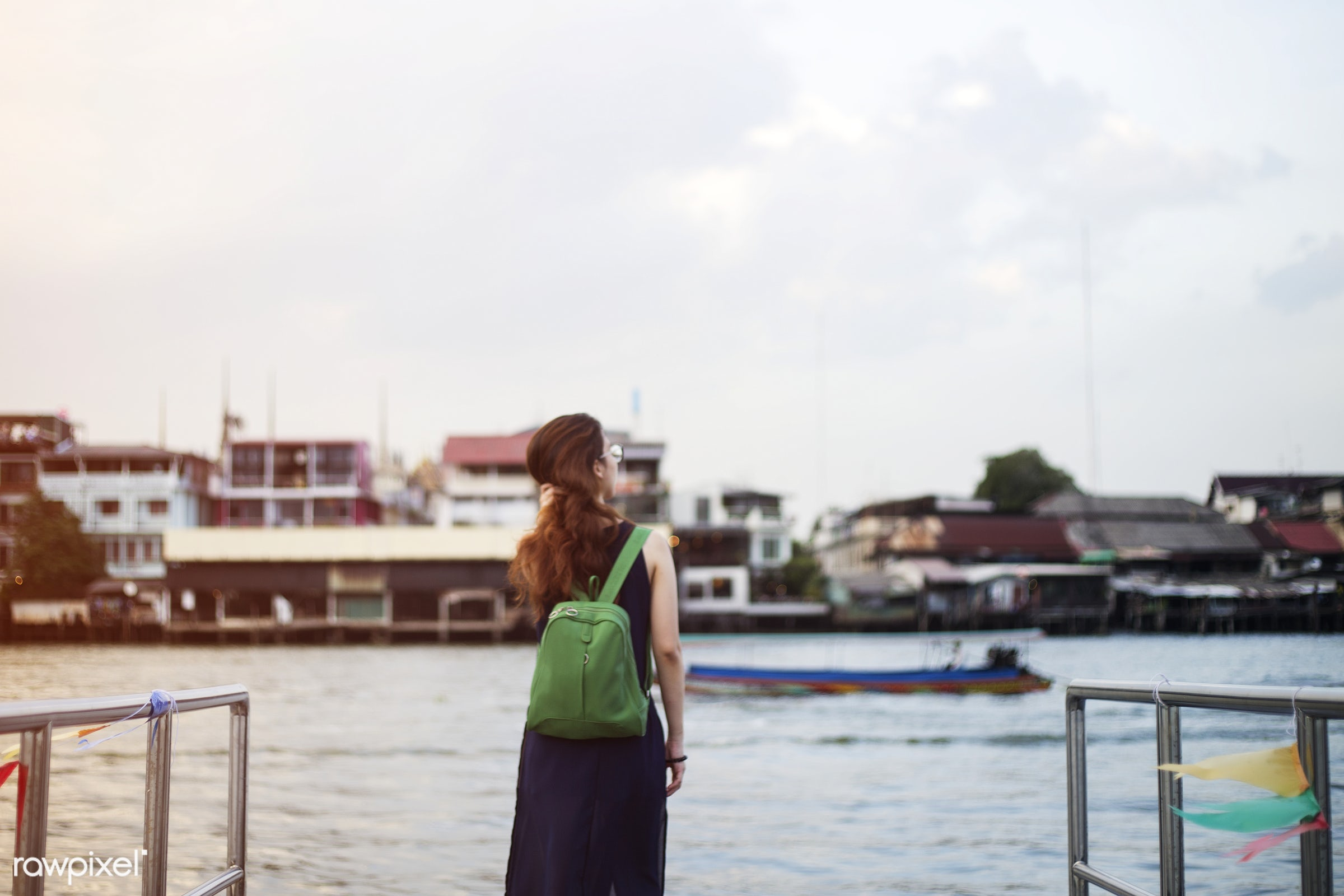 travel, look up, thai, back, alone, asian, bag, dock, explore, female, one, outdoors, people, person, river, riverside, sky...