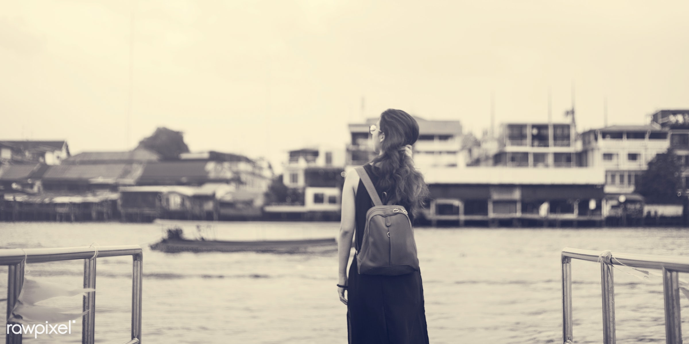 alone, asian, back, bag, dock, explore, female, look up, one, outdoors, people, person, river, riverside, sky, solo,...