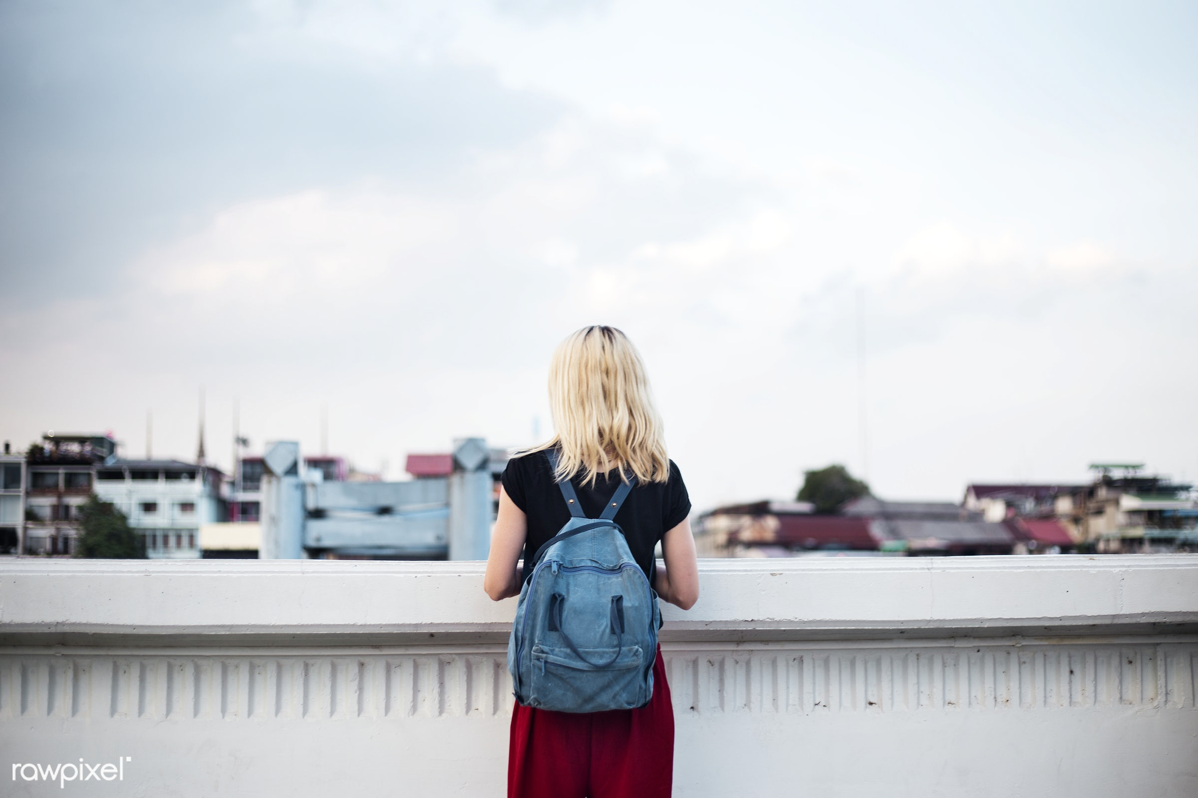 travel, backpack, cloud, sweden, alone, back, black tee, blonde, explore, female, one, outdoors, people, person, rooftop,...