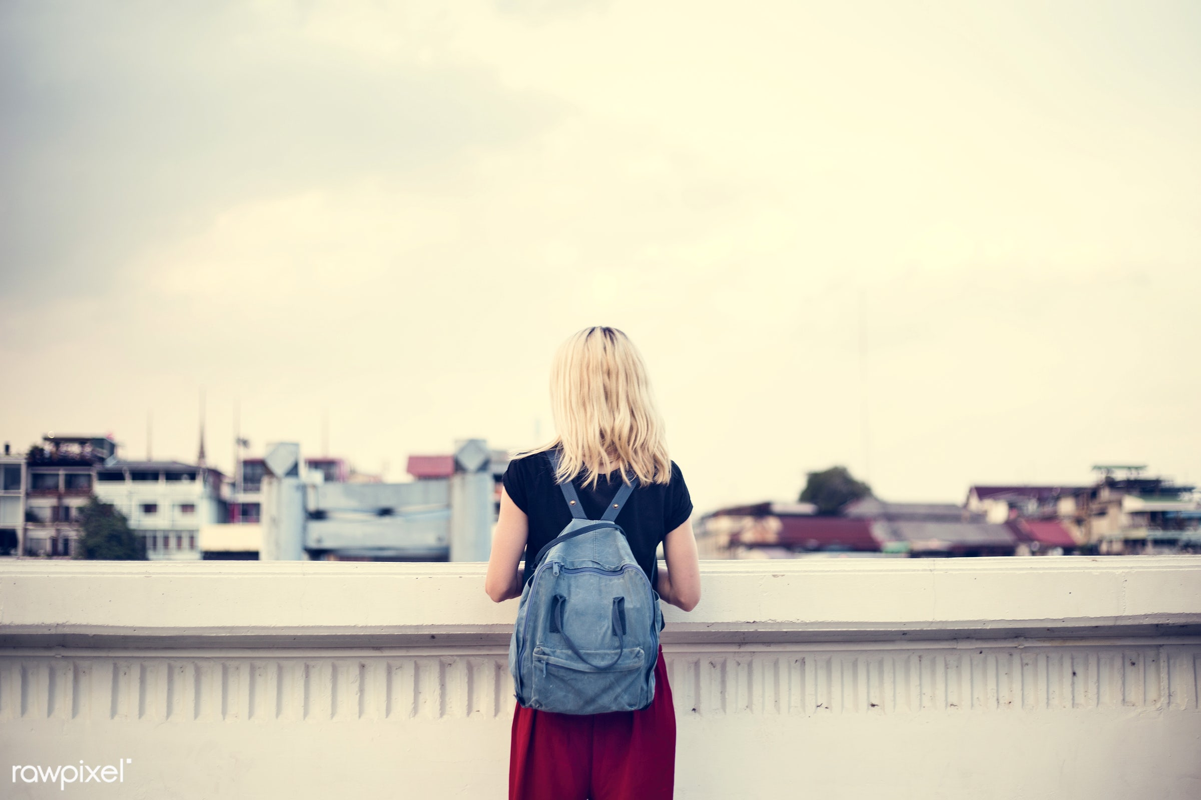 alone, back, backpack, black tee, blonde, cloud, explore, female, one, outdoors, people, person, rooftop, sky, solo, sweden...