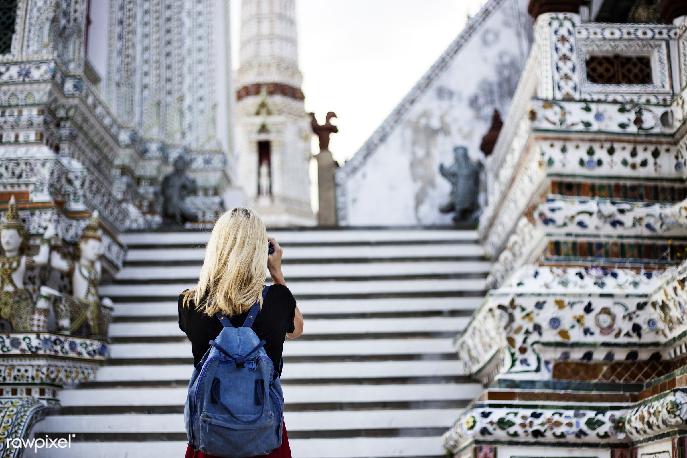 sweden, alone, back, backpack, black, black tee, blonde, camera, caucasian, explore, female, one, outdoors, people, person,...