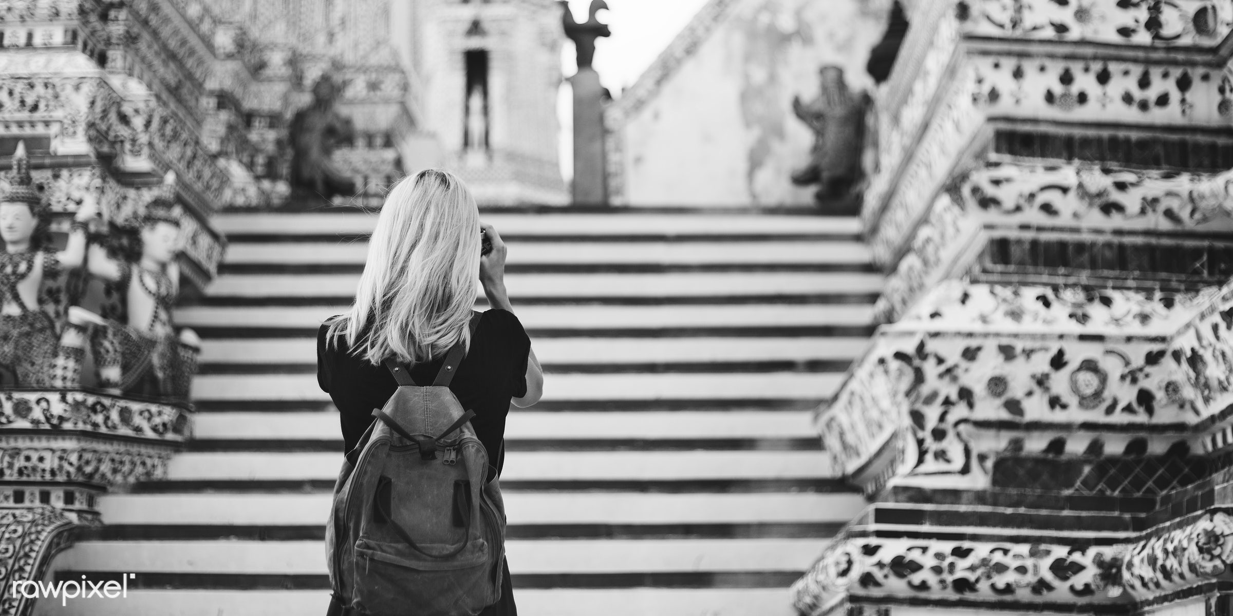 alone, back, backpack, black, black tee, blonde, camera, caucasian, explore, female, one, outdoors, people, person, shooting...