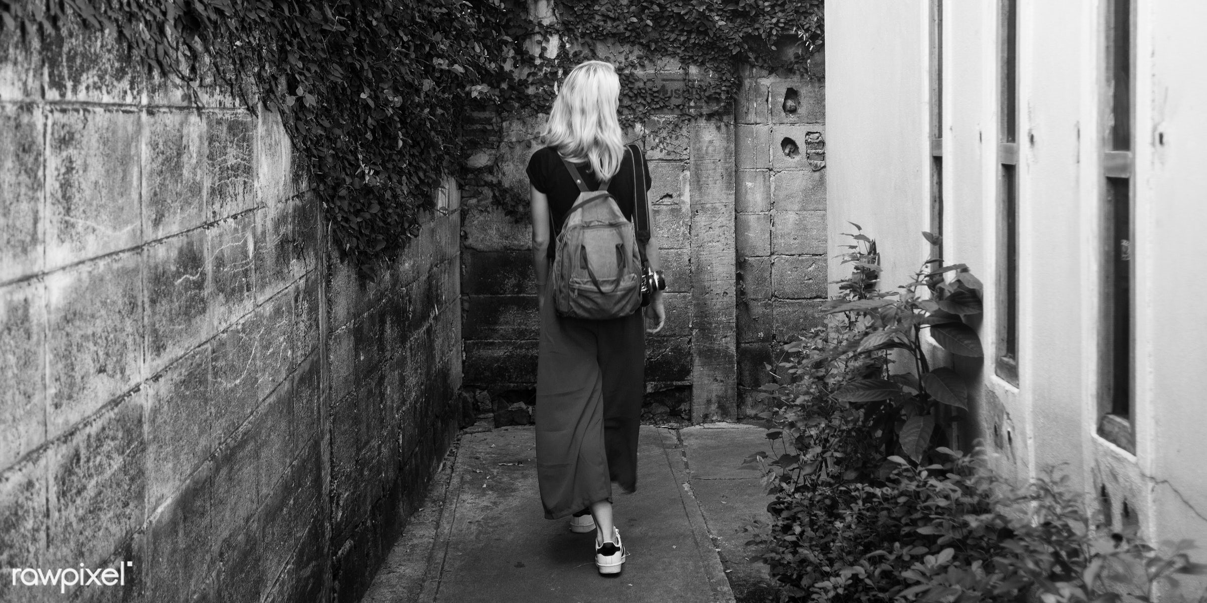 alley, alone, back, bag, blonde, camera, caucasian, explore, female, one, outdoors, people, person, solo, sweden, swedish,...