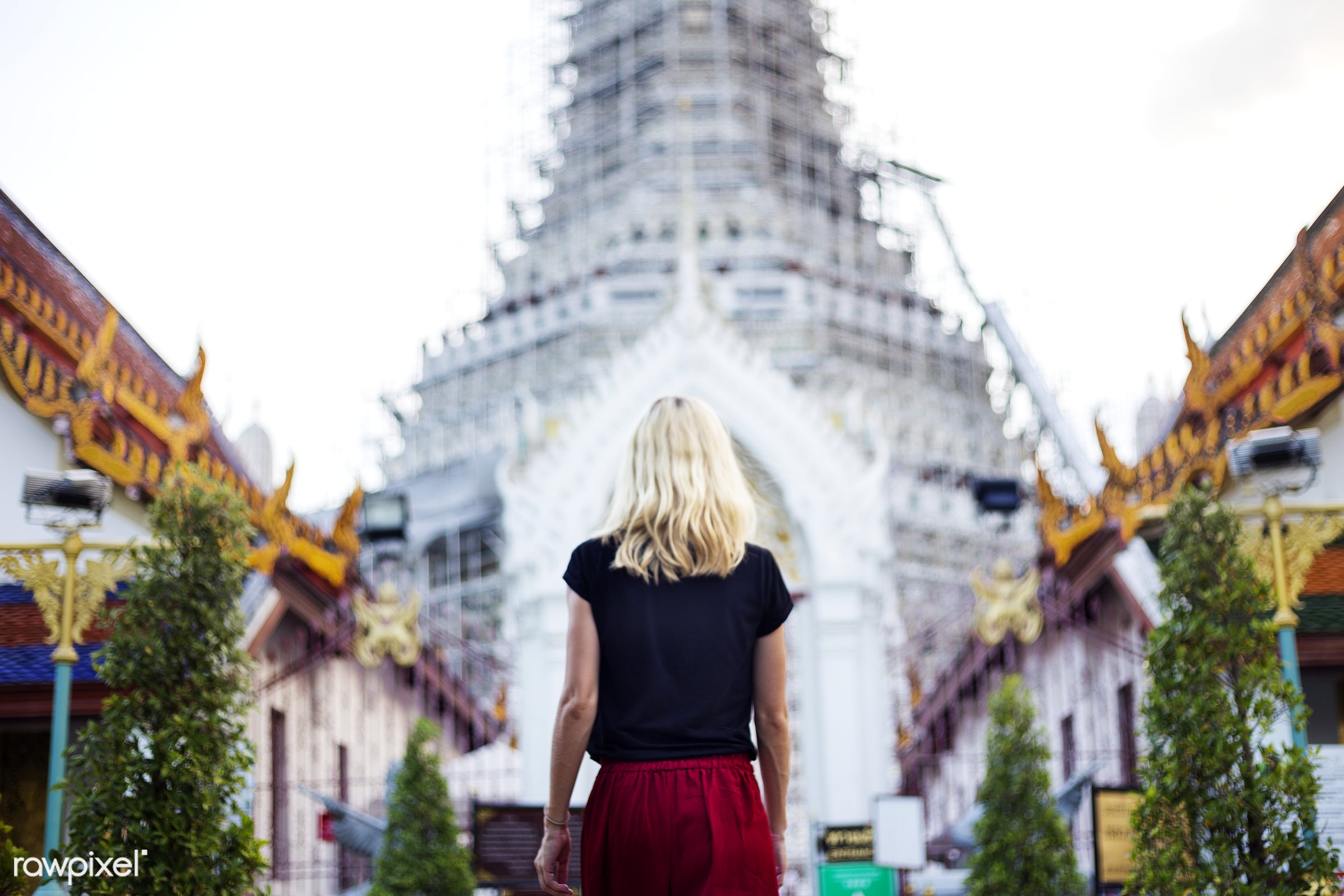 explore, temple, traveler, adult, alone, back, black, black tee, blonde, buddhism, female, one, outdoors, people, person,...