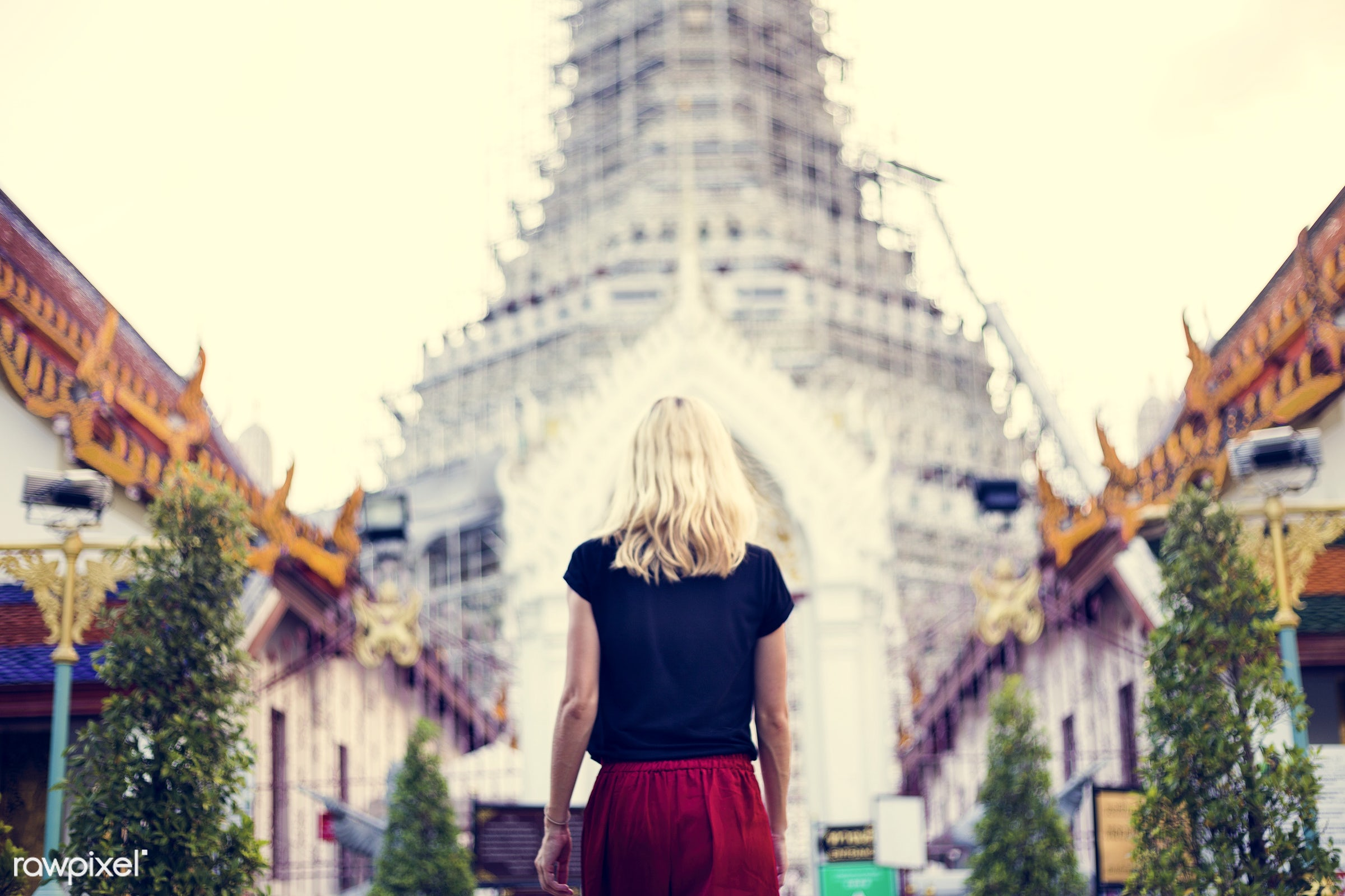 adult, alone, back, black, black tee, blonde, buddhism, caucasian, explore, female, one, outdoors, people, person, religion...