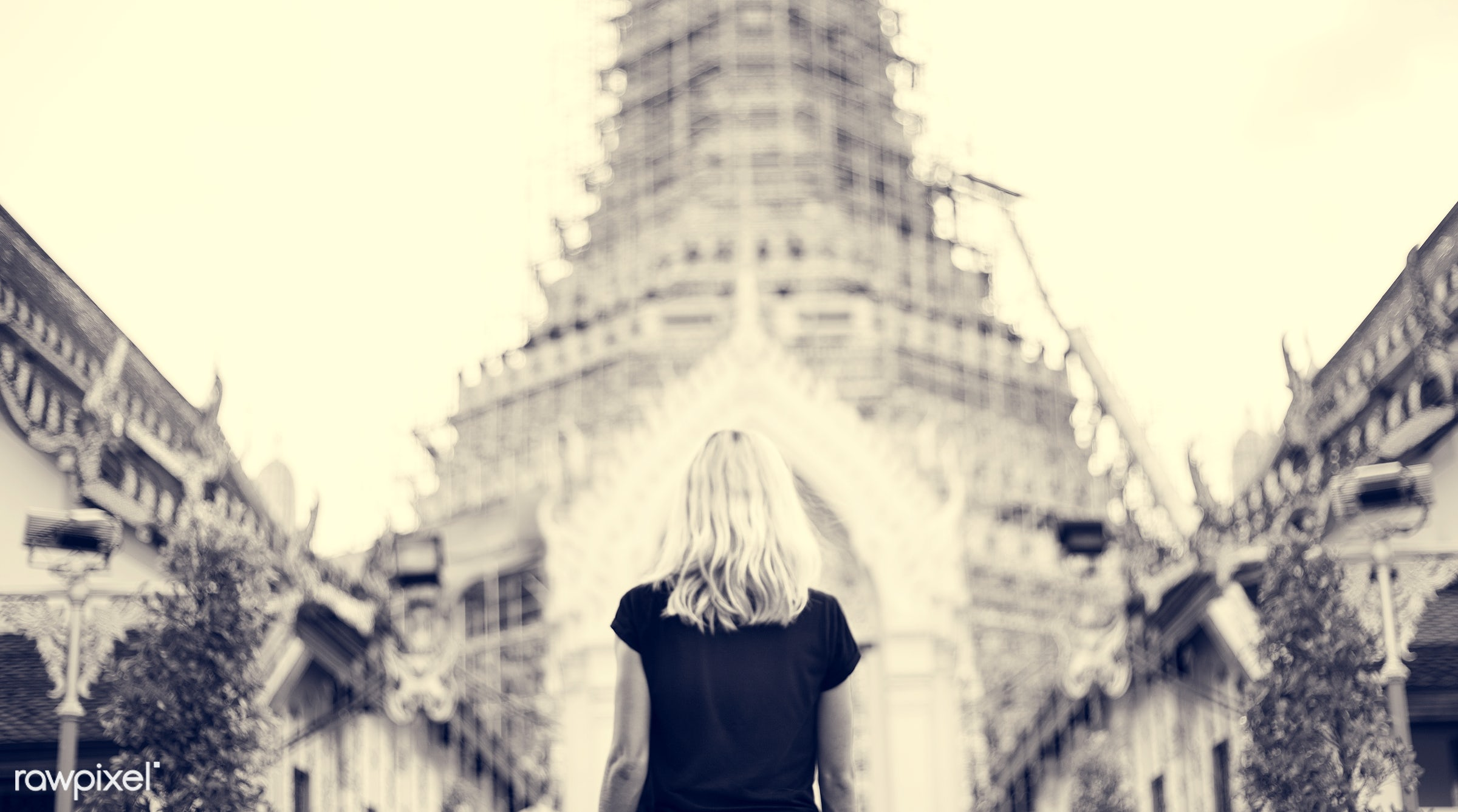 alone, back, black, black tee, blonde, buddhism, caucasian, explore, female, one, outdoors, people, person, religion, solo,...